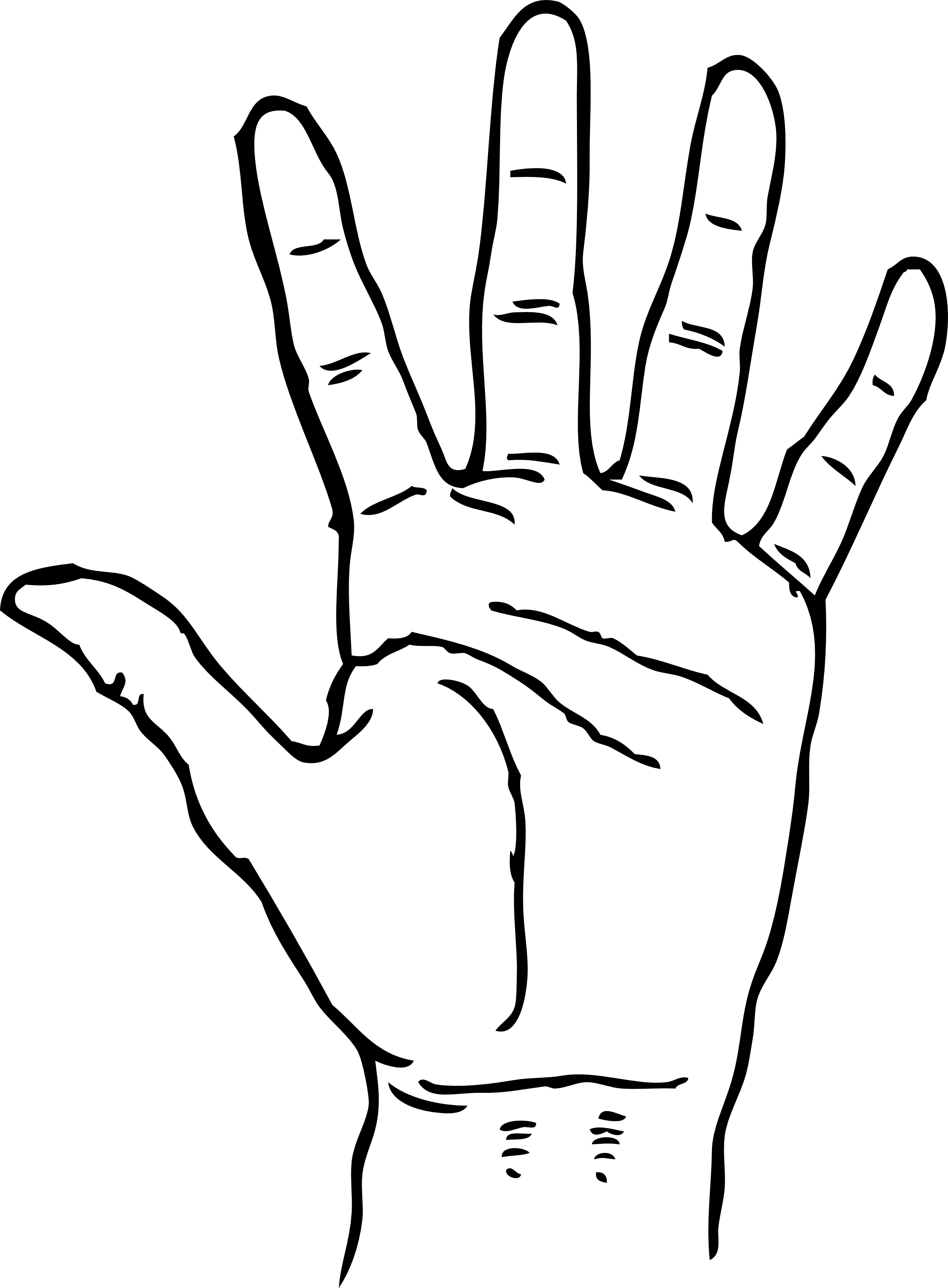 Hand Palm Facing Out Black White Line Art Coloring