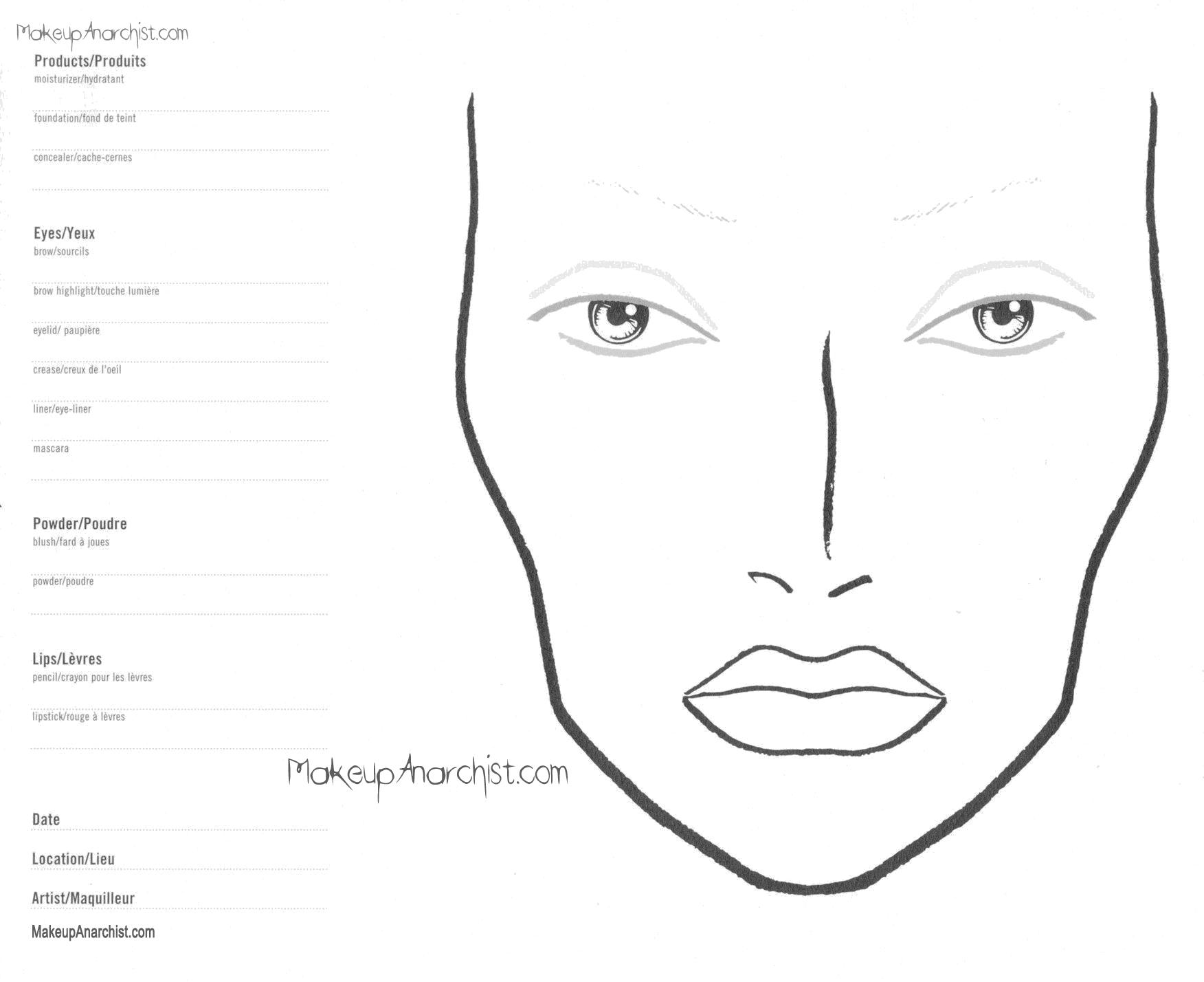 Blank Eye Shadow Diagram