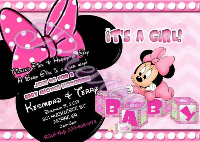 Minnie Mouse Baby Shower Invitations Custom