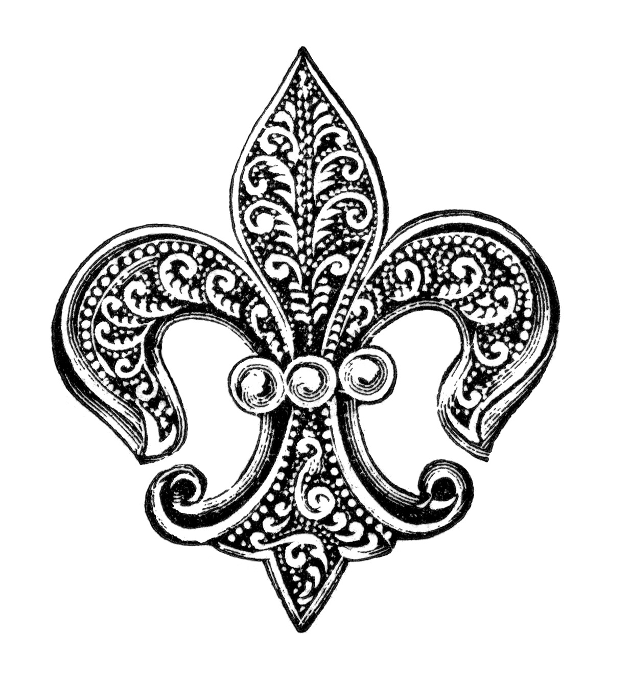 Free Vintage Image Fleur De Lis Pin With Pearls Clip Art