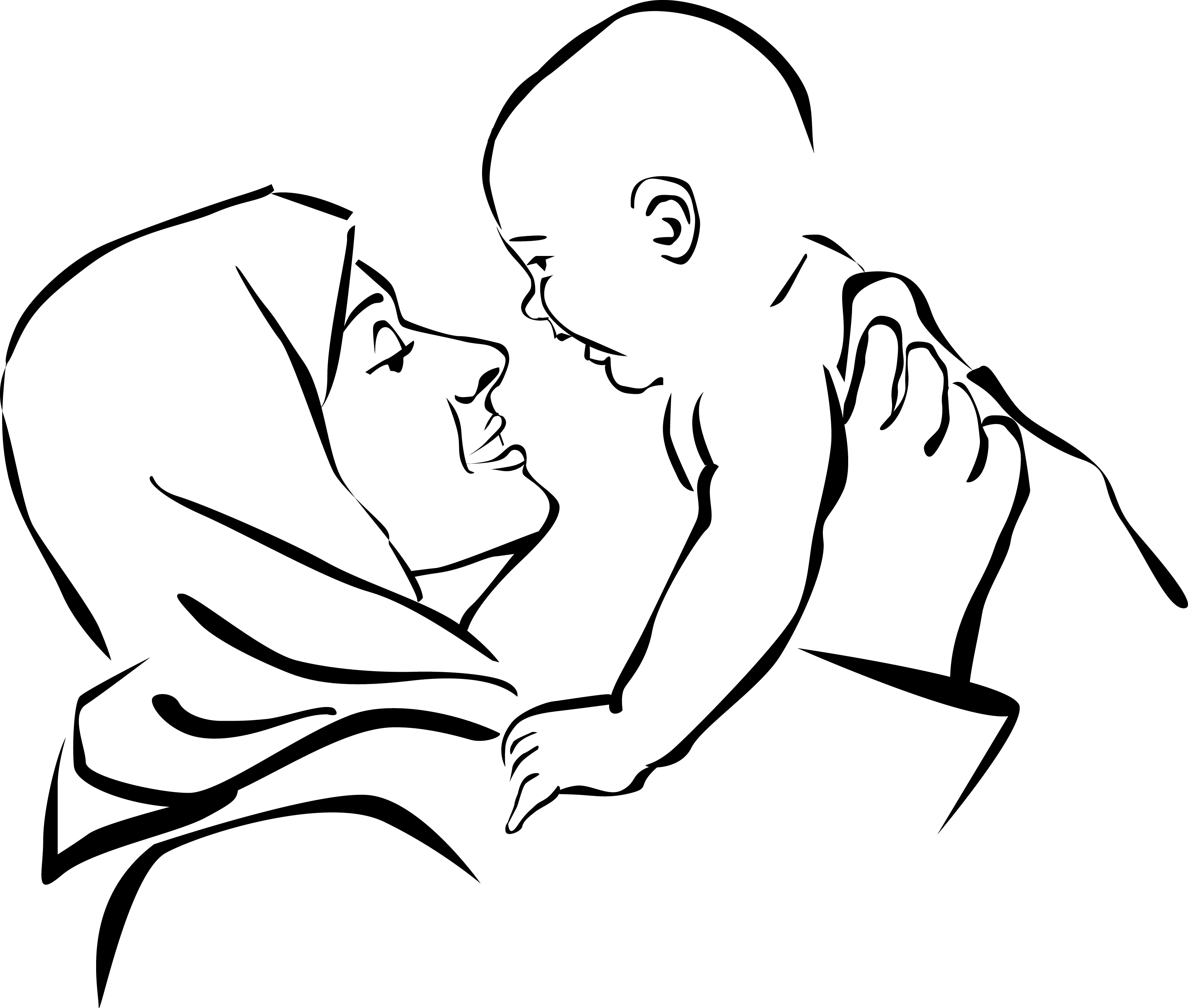 Black Mother And Baby Drawing Clipart Library