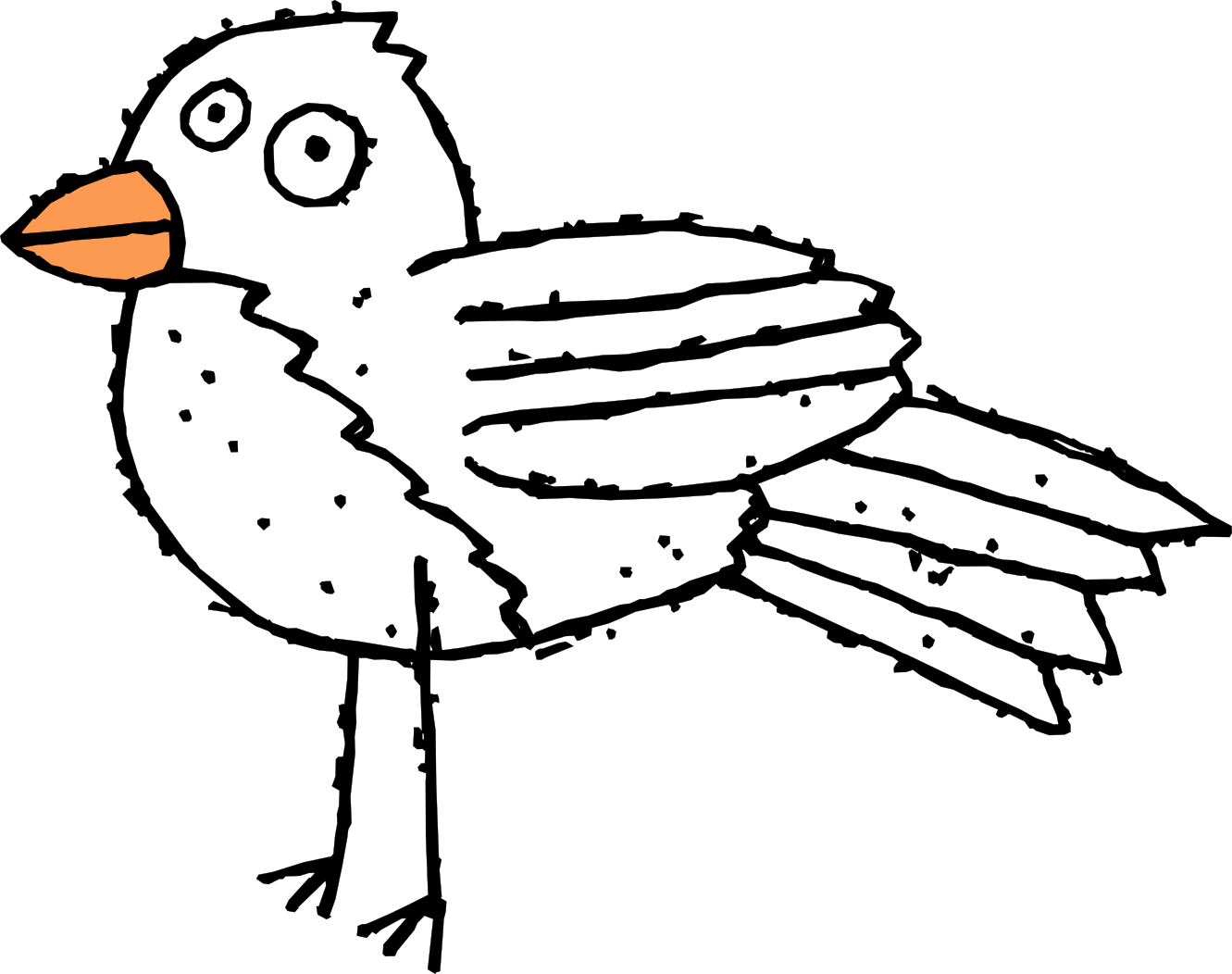 Cartoon Bird 3 Black White Line Art Scalable Vector