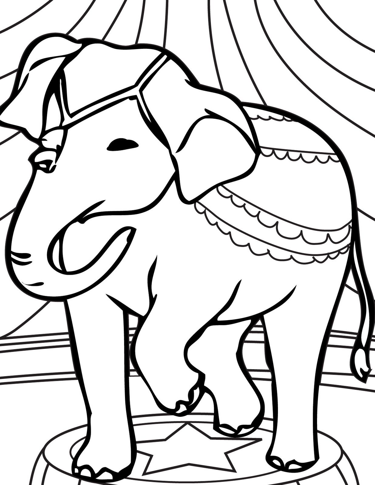 Circus Elephant Coloring Pages Ideas To Kids Clipart Library