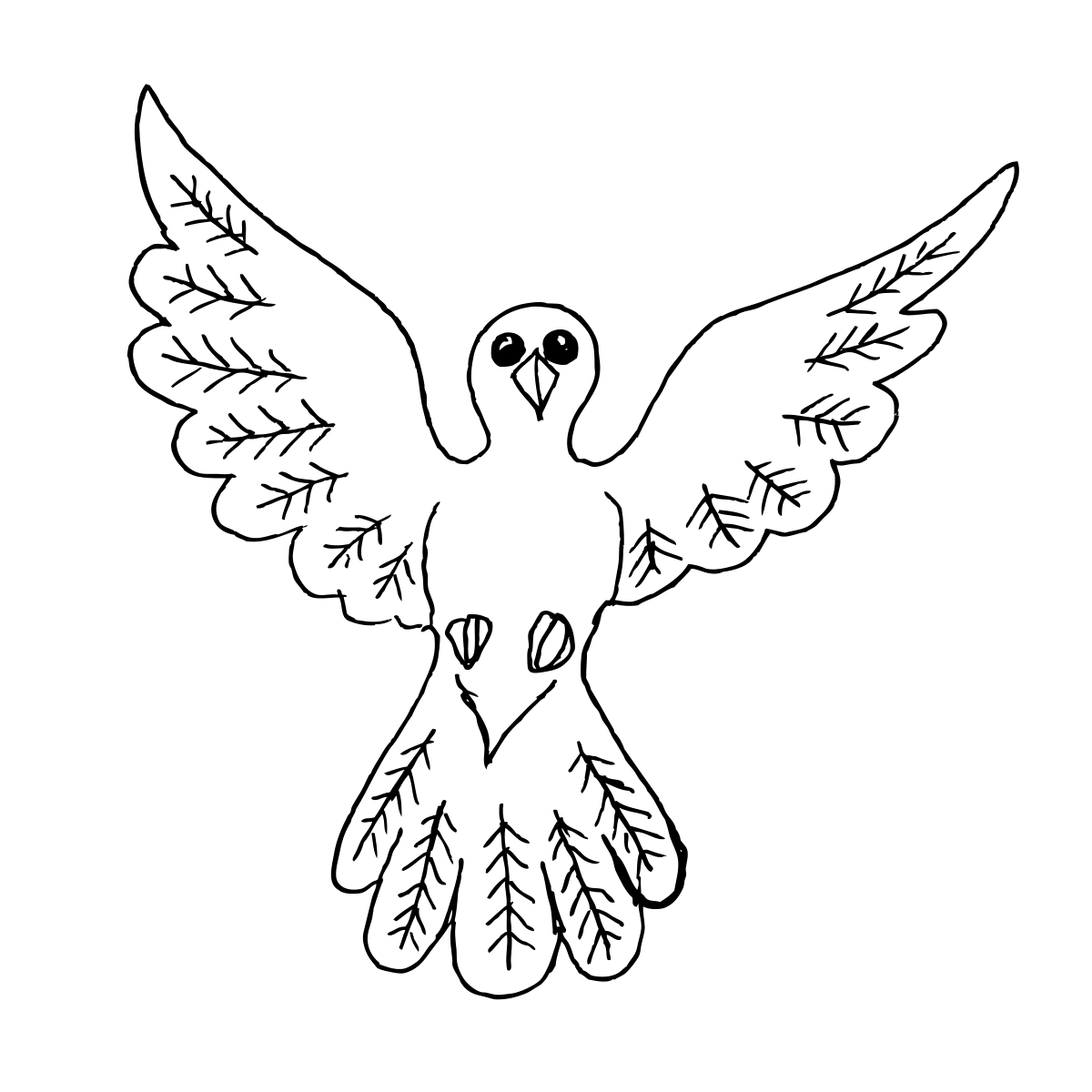 Dove Bird Outline Drawing Clipart By Konand Bird