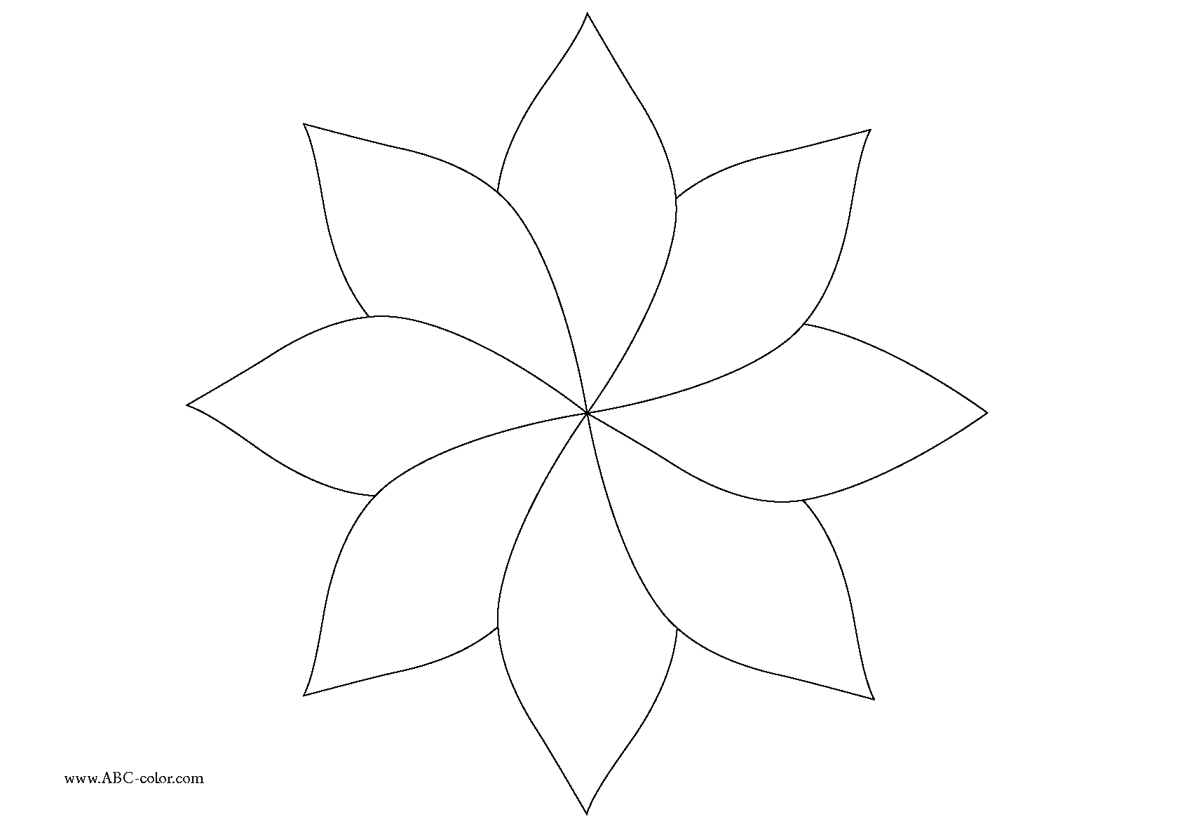 Free Coloring Pages Of Six Petal Flower