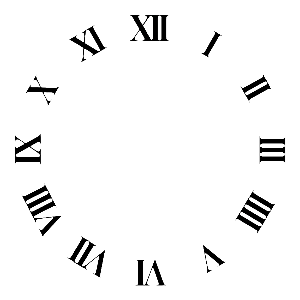 Clock Face Roman Numerals Time Clip Art