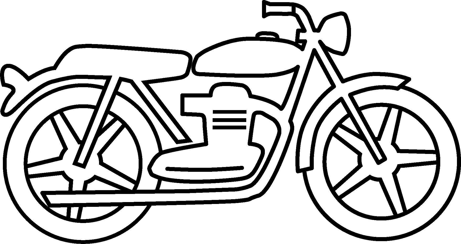 Motorcycle Clipart Black And White Simple