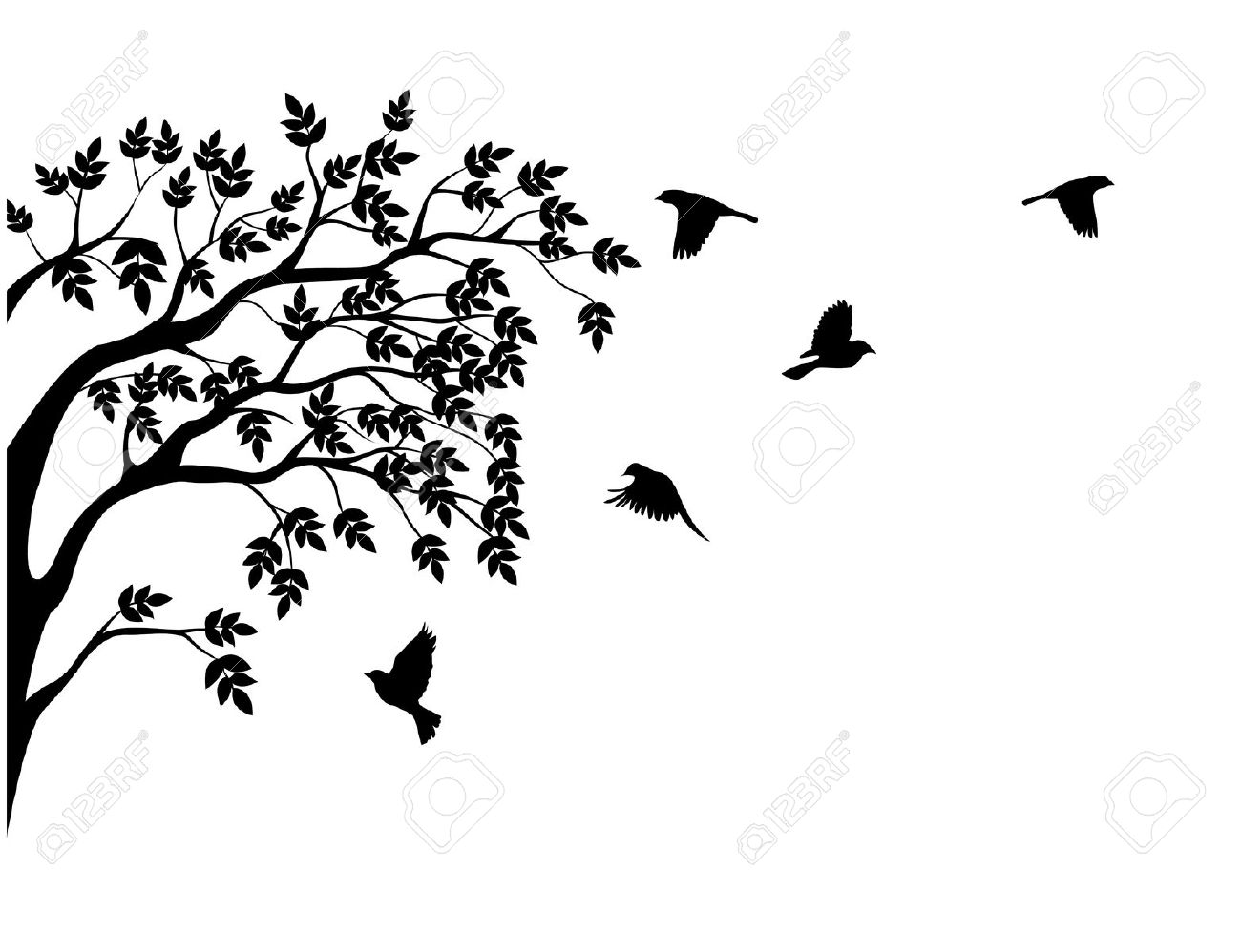 Spooky Bird In Tree Clipart