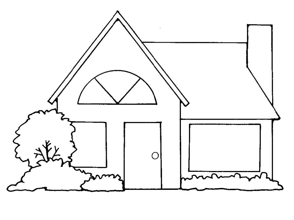 House With Bush Outline Clipart Black And White