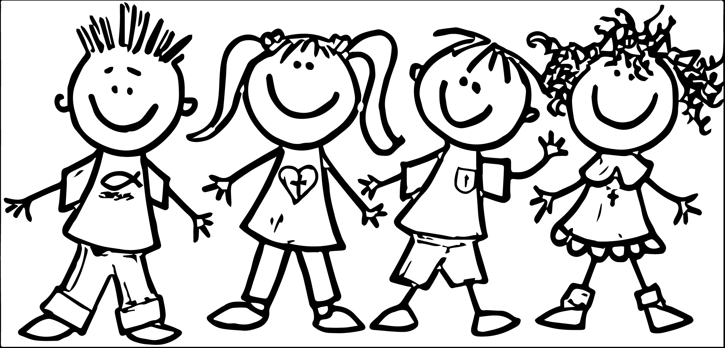 Preschool Children Clipart Black And White