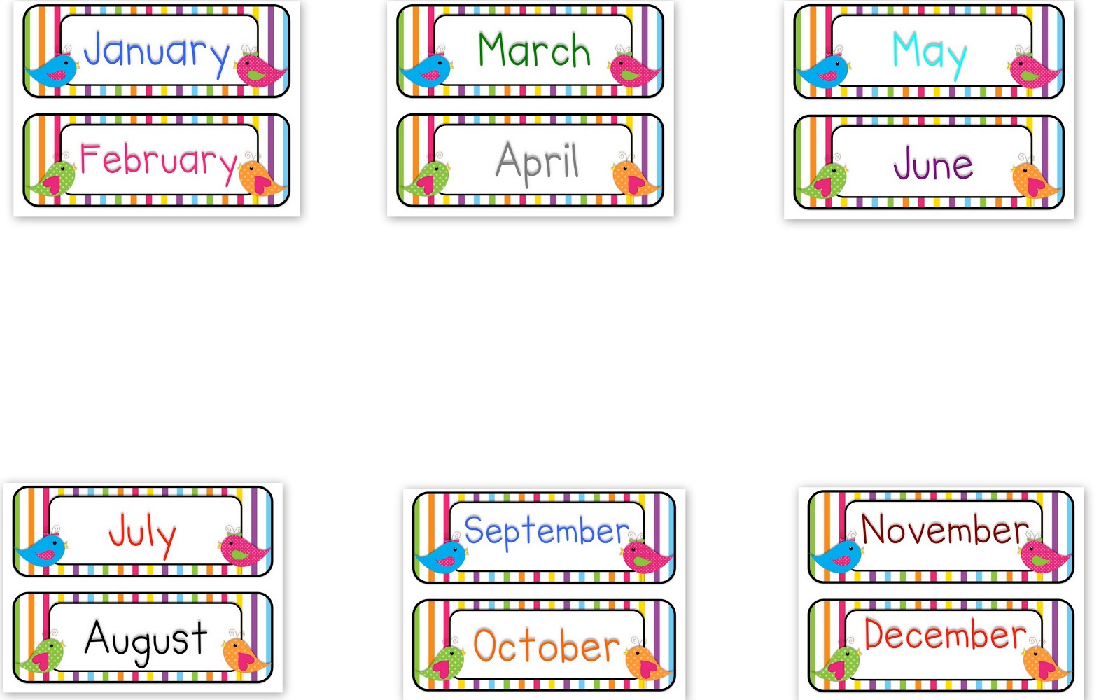 Printable Months Of The Year Clipart