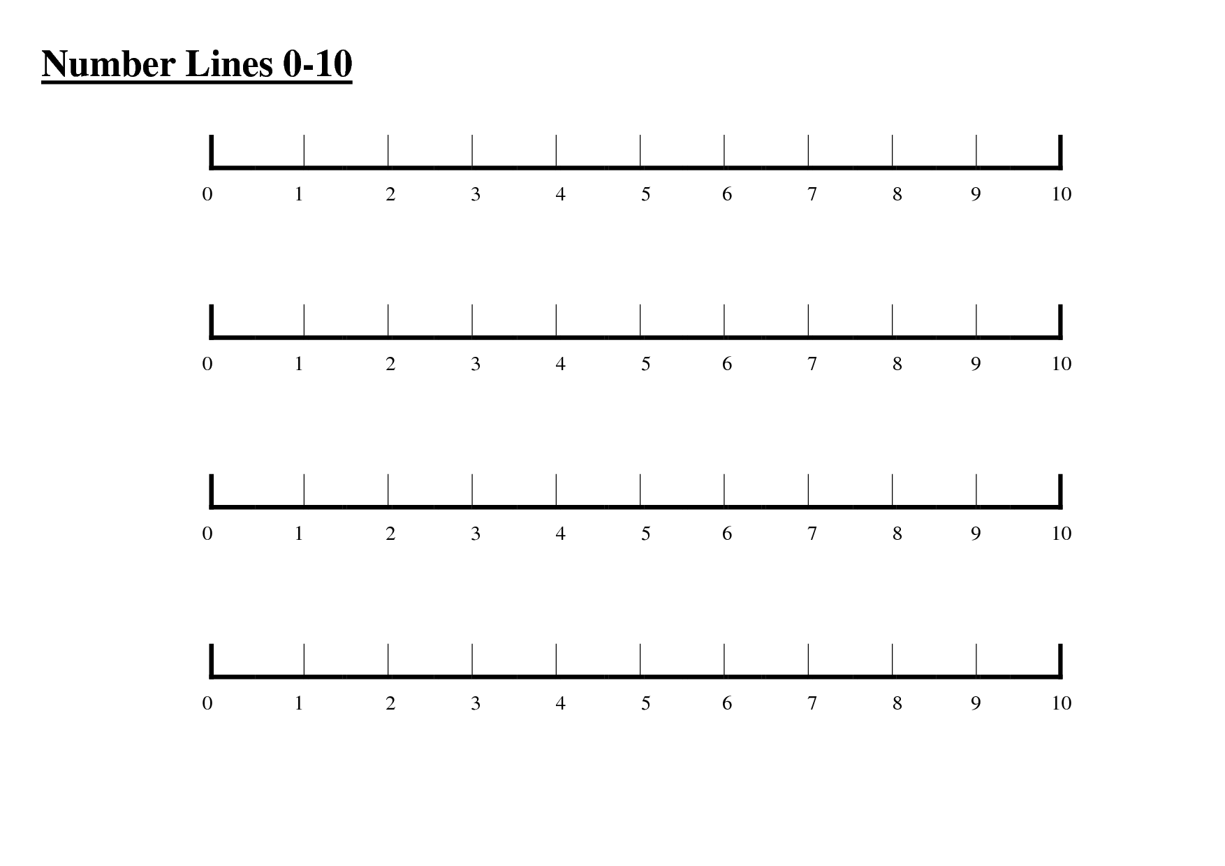 Fractional Number Line Clipart