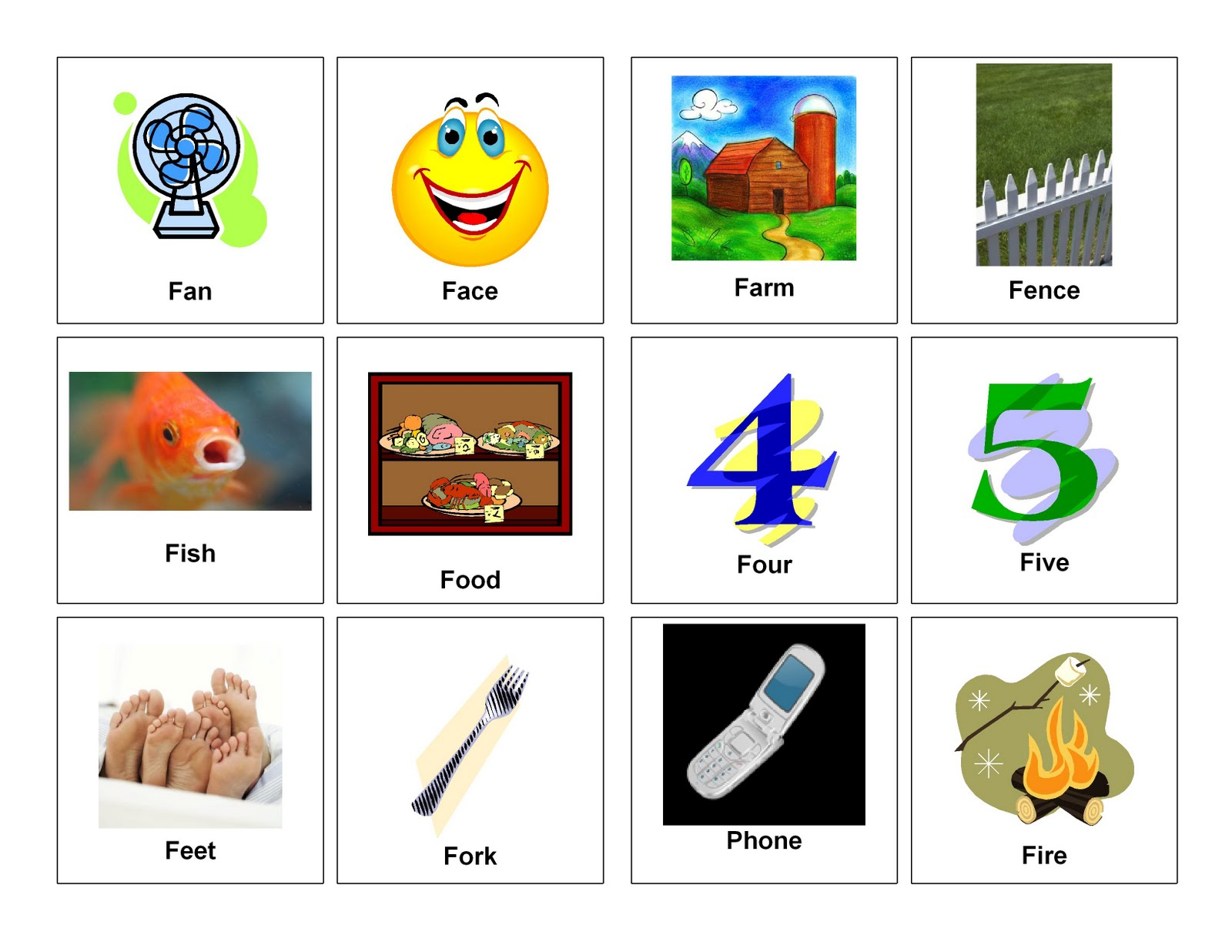 Letter F Word Clipart