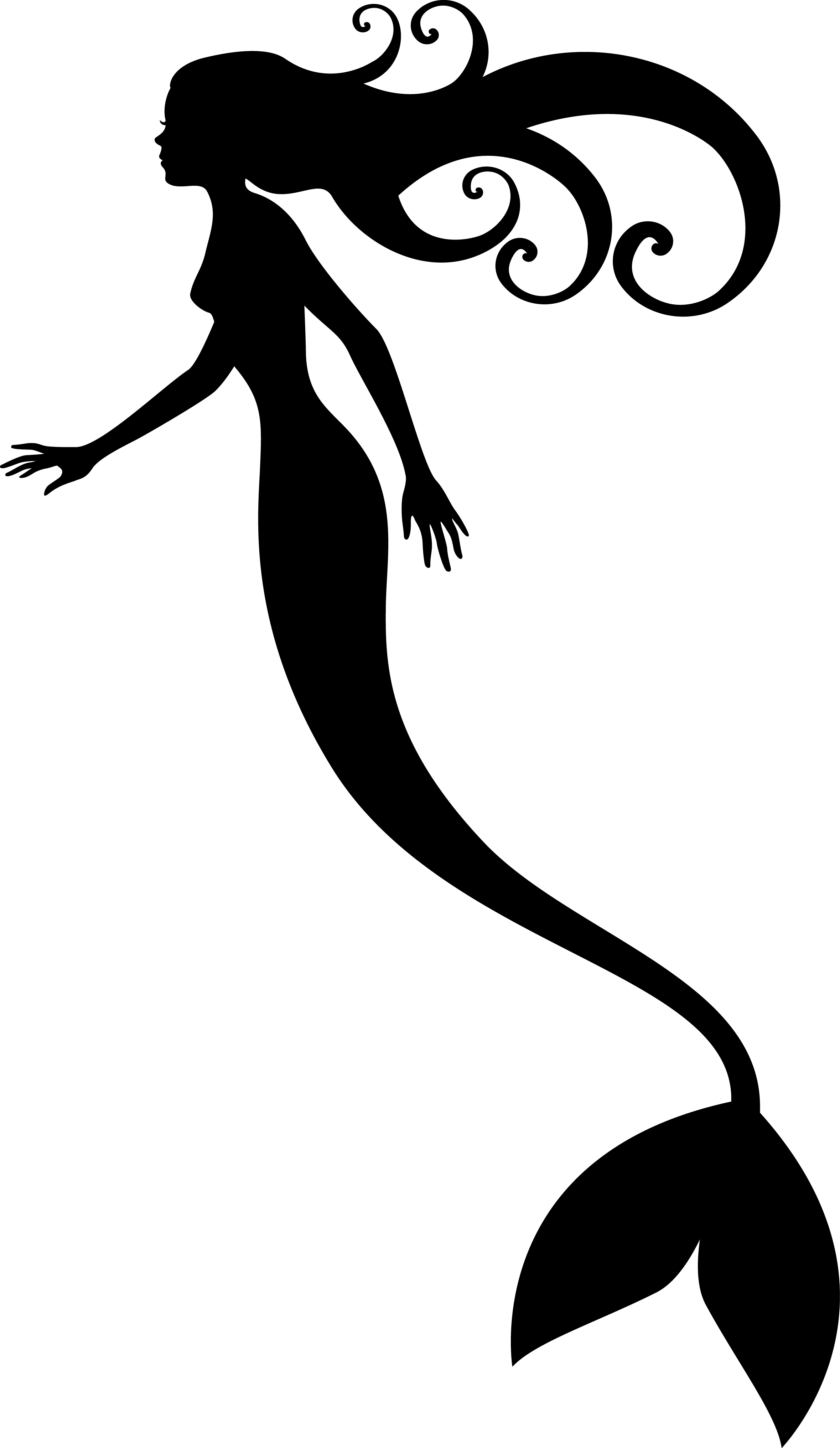 Mermaid Clipart Black And White Outline Birthday