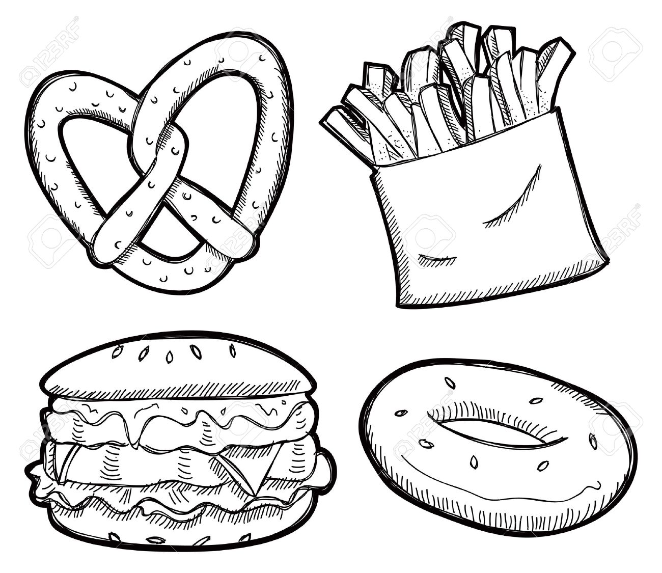 Snacks Clipart Black And White Snack
