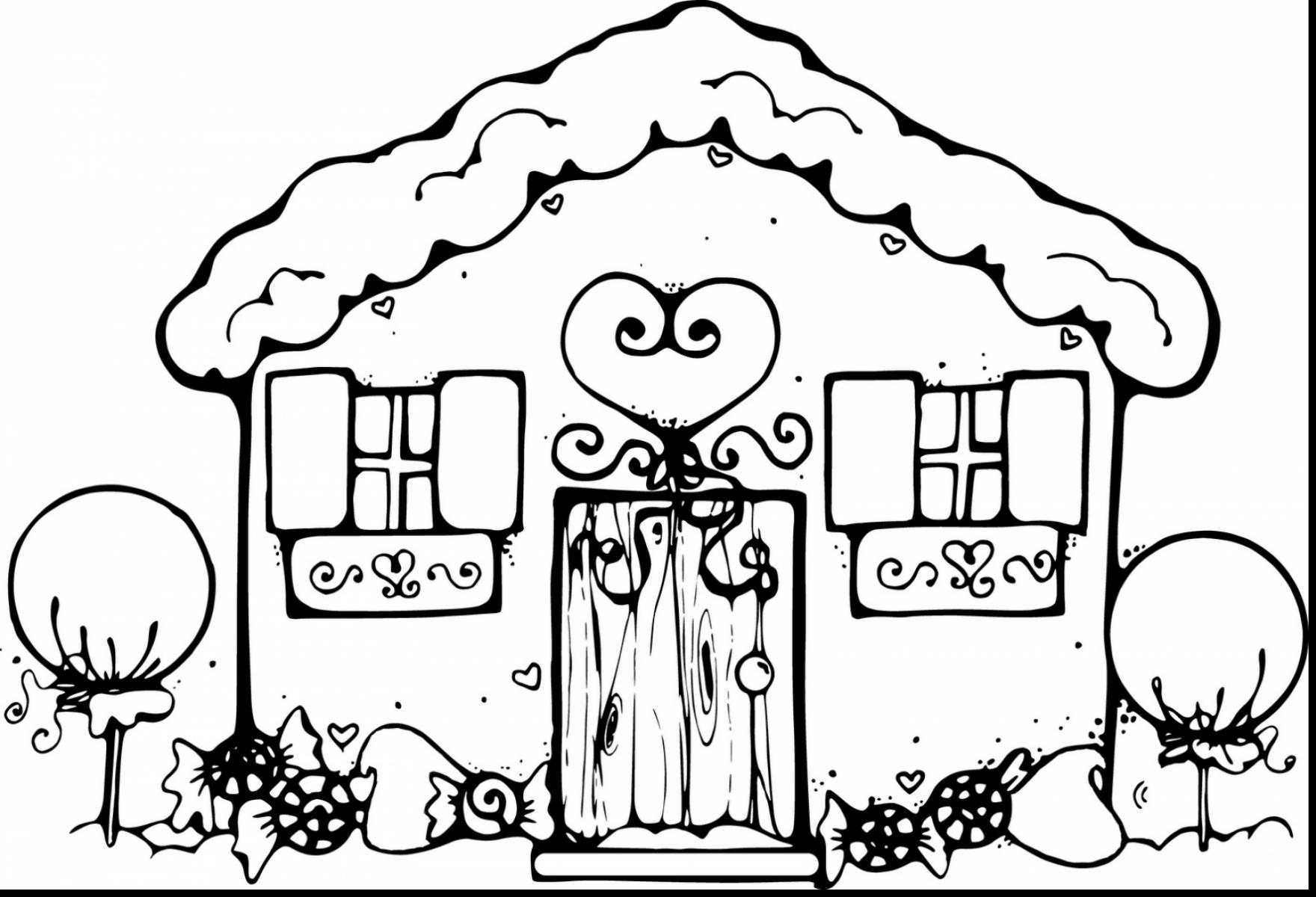 Extraordinary Gingerbread House Clip Art Black And White