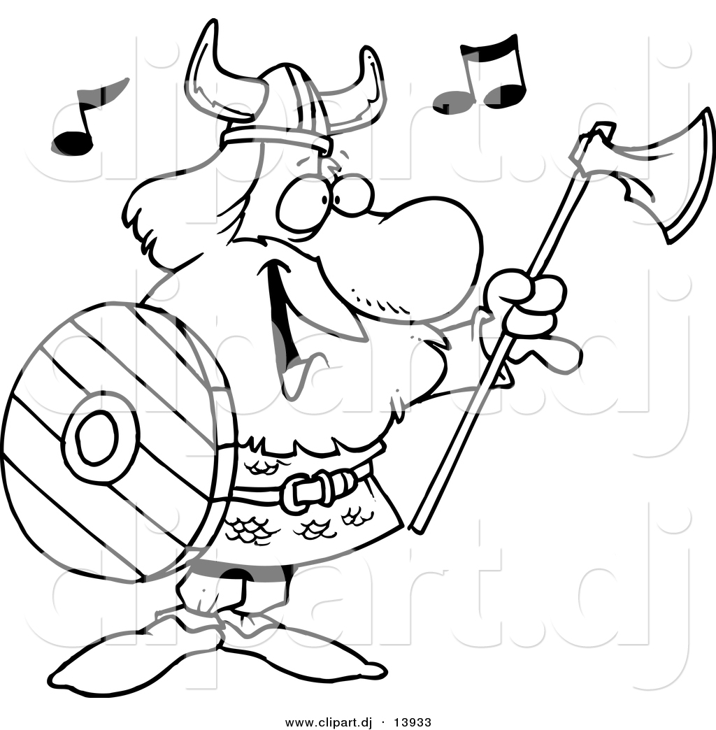 Cartoon Vector Clipart Of A Happy Singing Viking With Ax