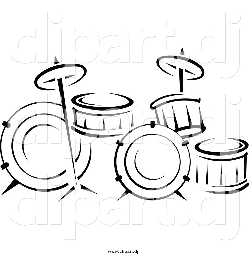 Larger Preview Vector Clipart Of A Black And White Drum