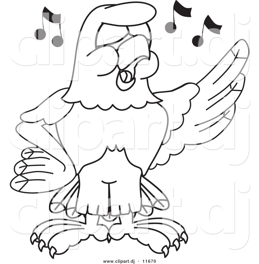 Vector Of A Cartoon Falcon Singing
