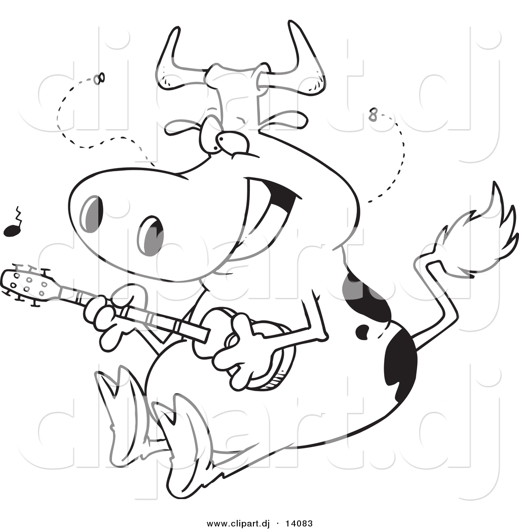 Vector Of Cartoon Cow Guitarist