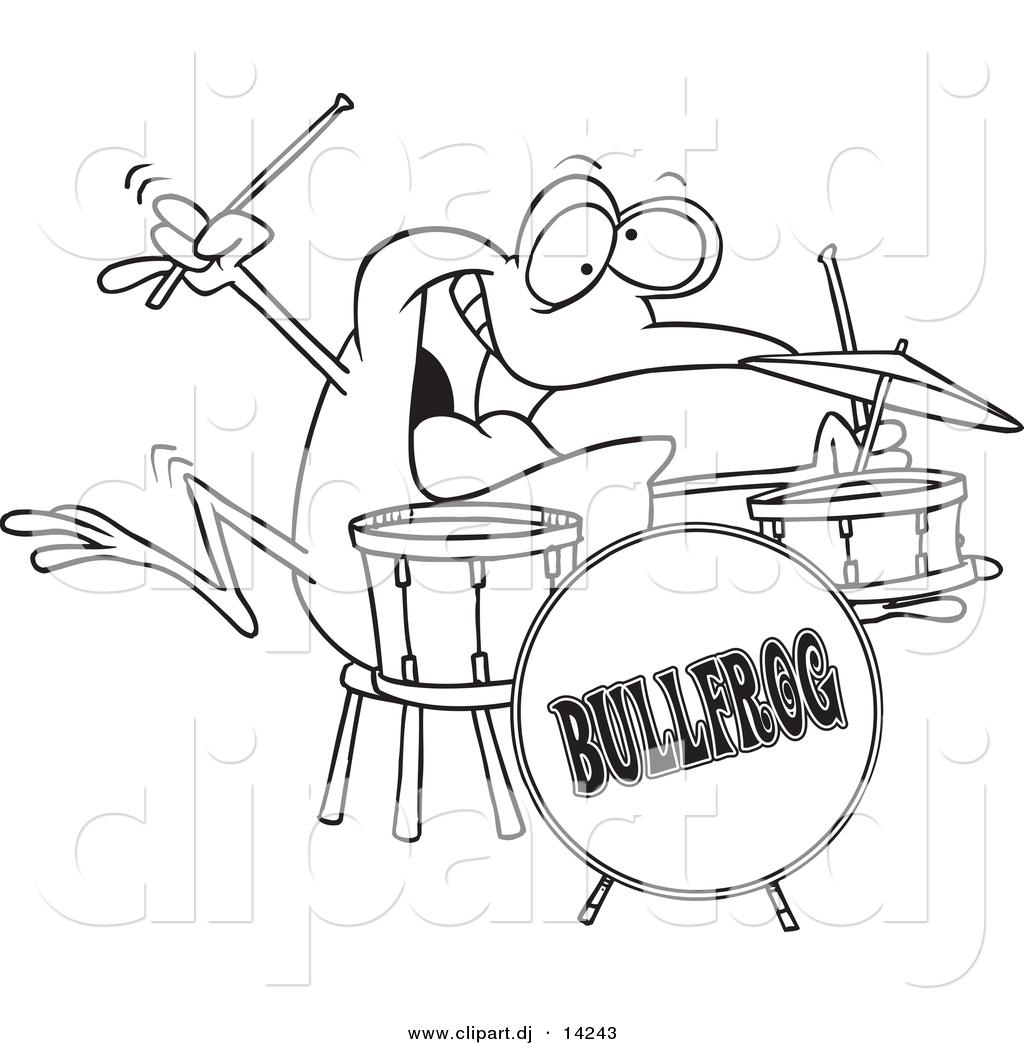 Vector Of Cartoon Drummer Frog