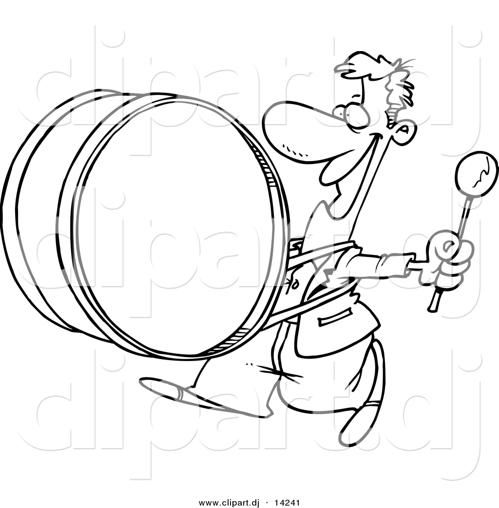 Vector Of Cartoon Happy Drummer