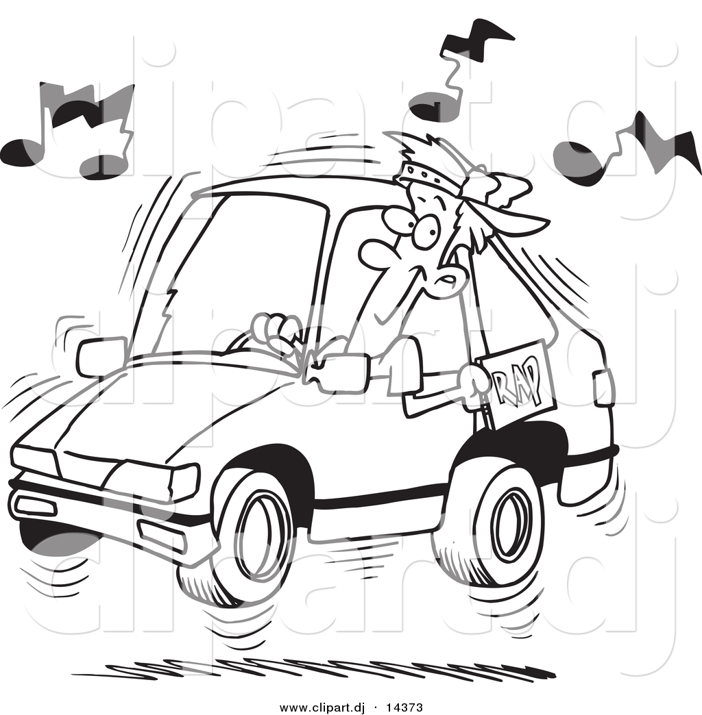 Vector Of Cartoon Man Blaring Rap Music In His Car