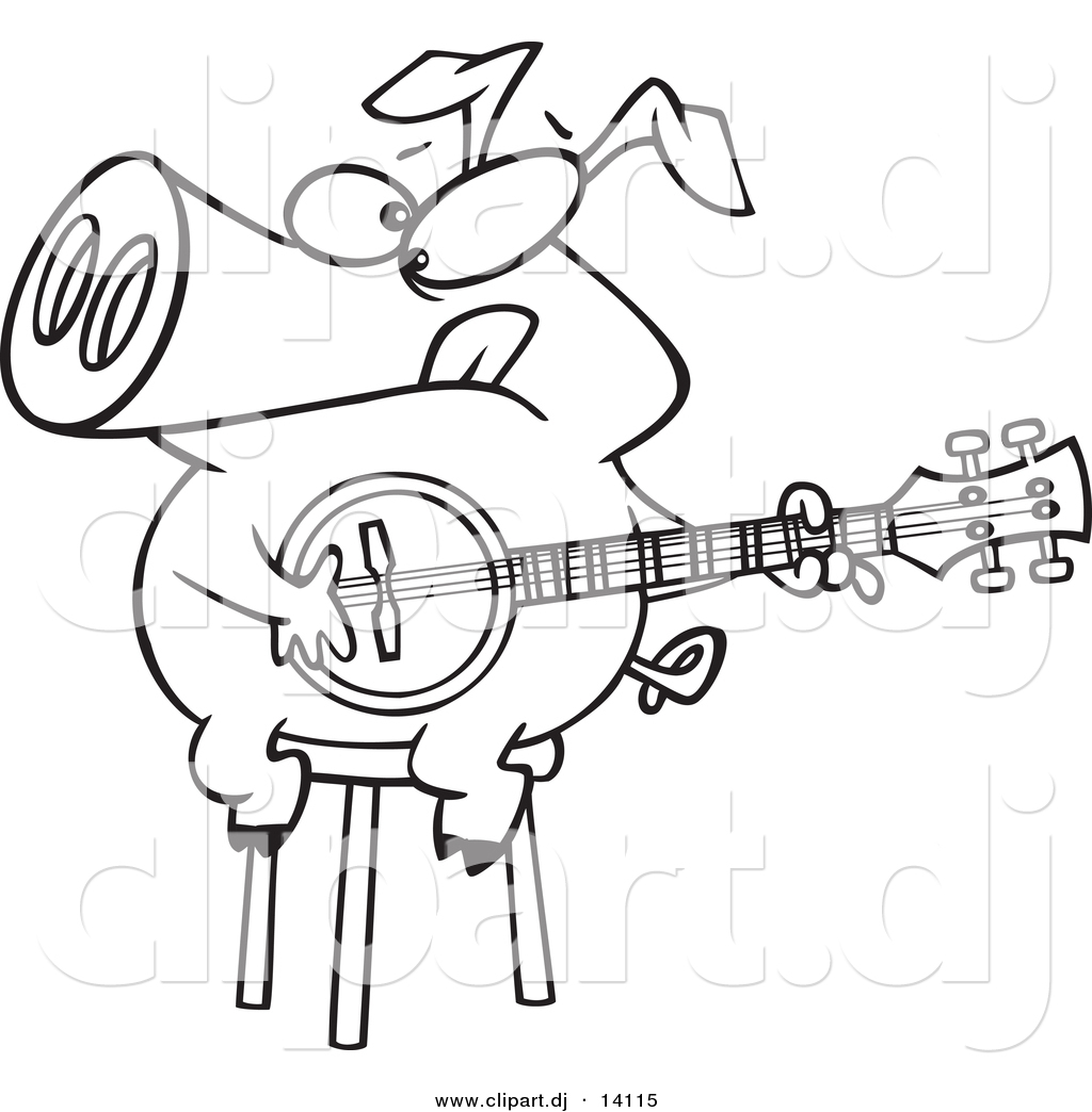 Vector Of Cartoon Pig Sitting On A Stool And Playing A