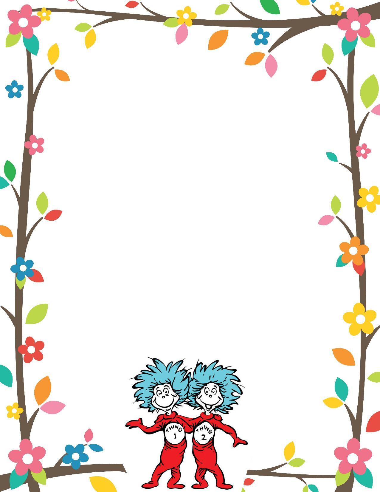 Dr Seuss Border Invitation Free Print