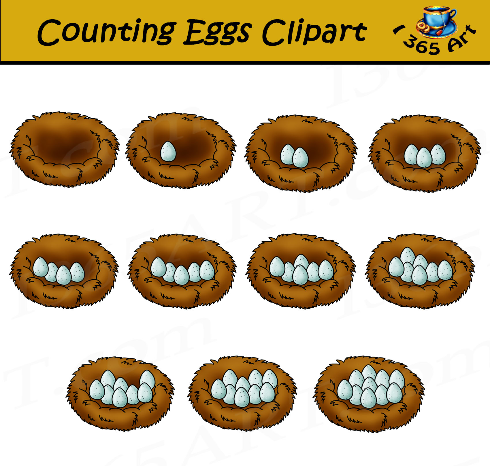 Egg Counting Clipart Commercial Use