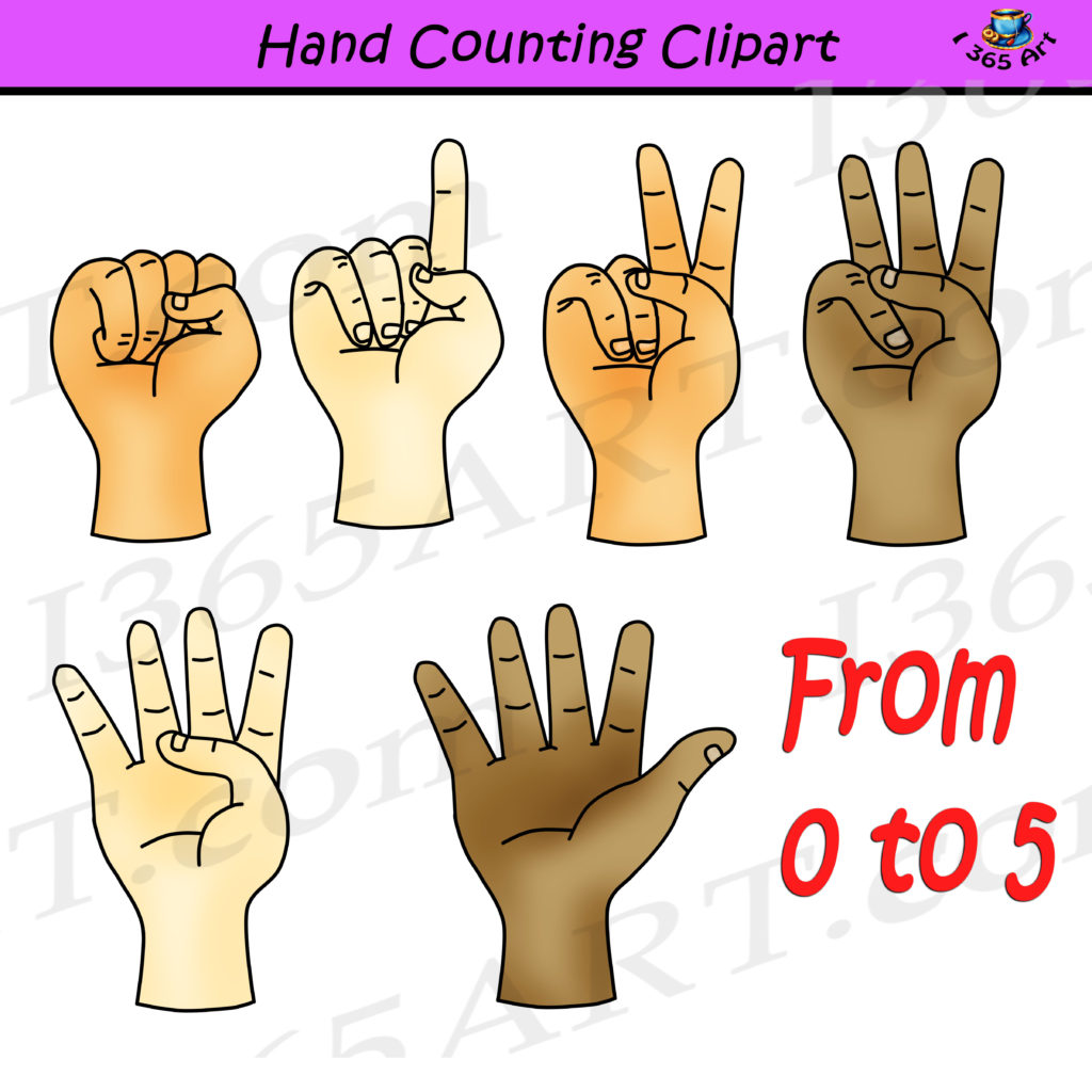 Hand Counting Clipart Set Finger Counting For Commercial