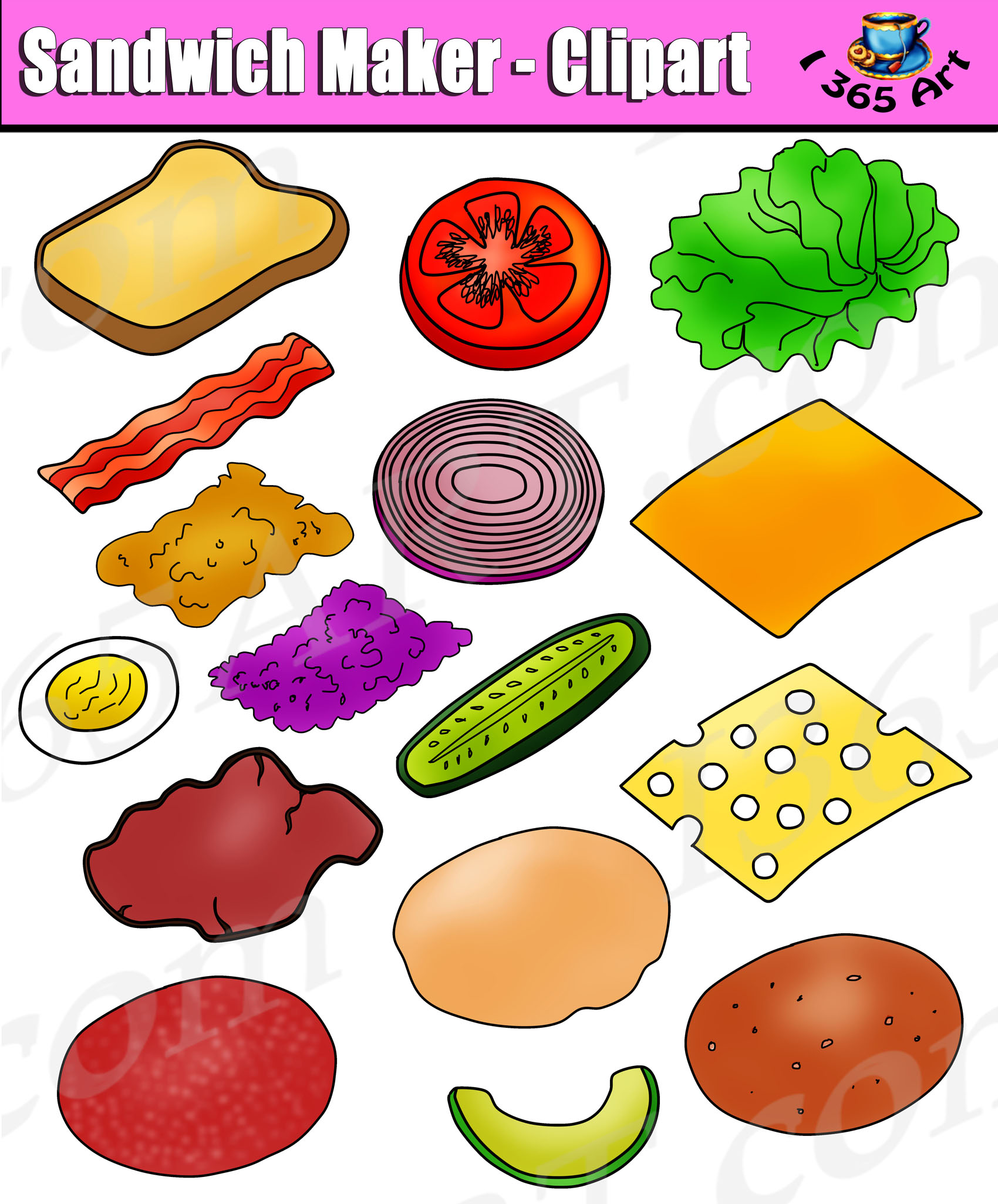 Build Sandwich Clipart Set Sandwich Maker Clip Art