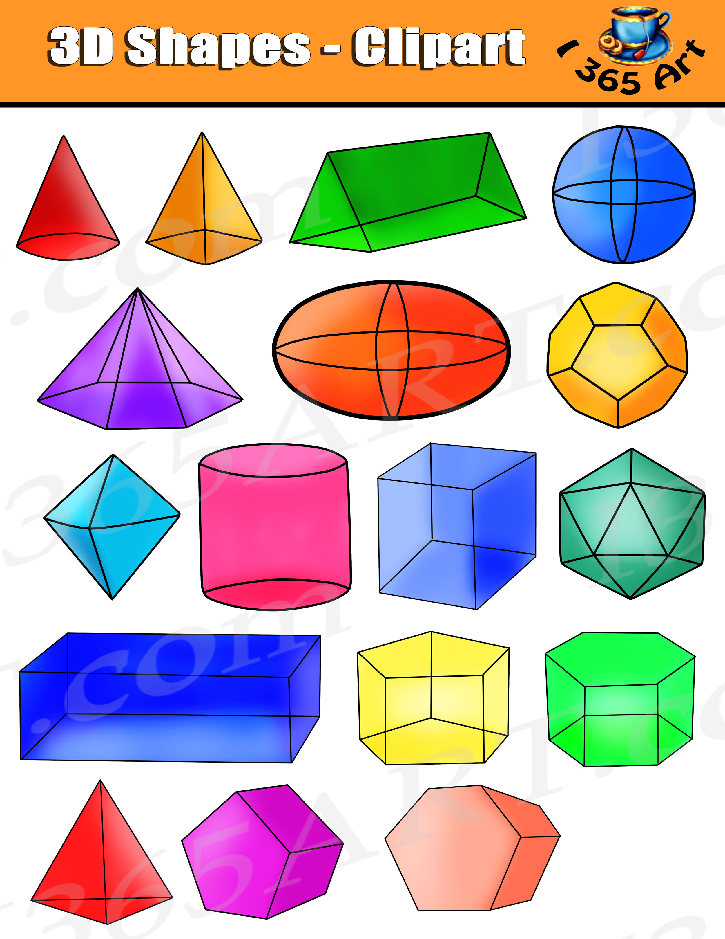 Shapes Clipart Isometric 3d Shapes Digital Graphics