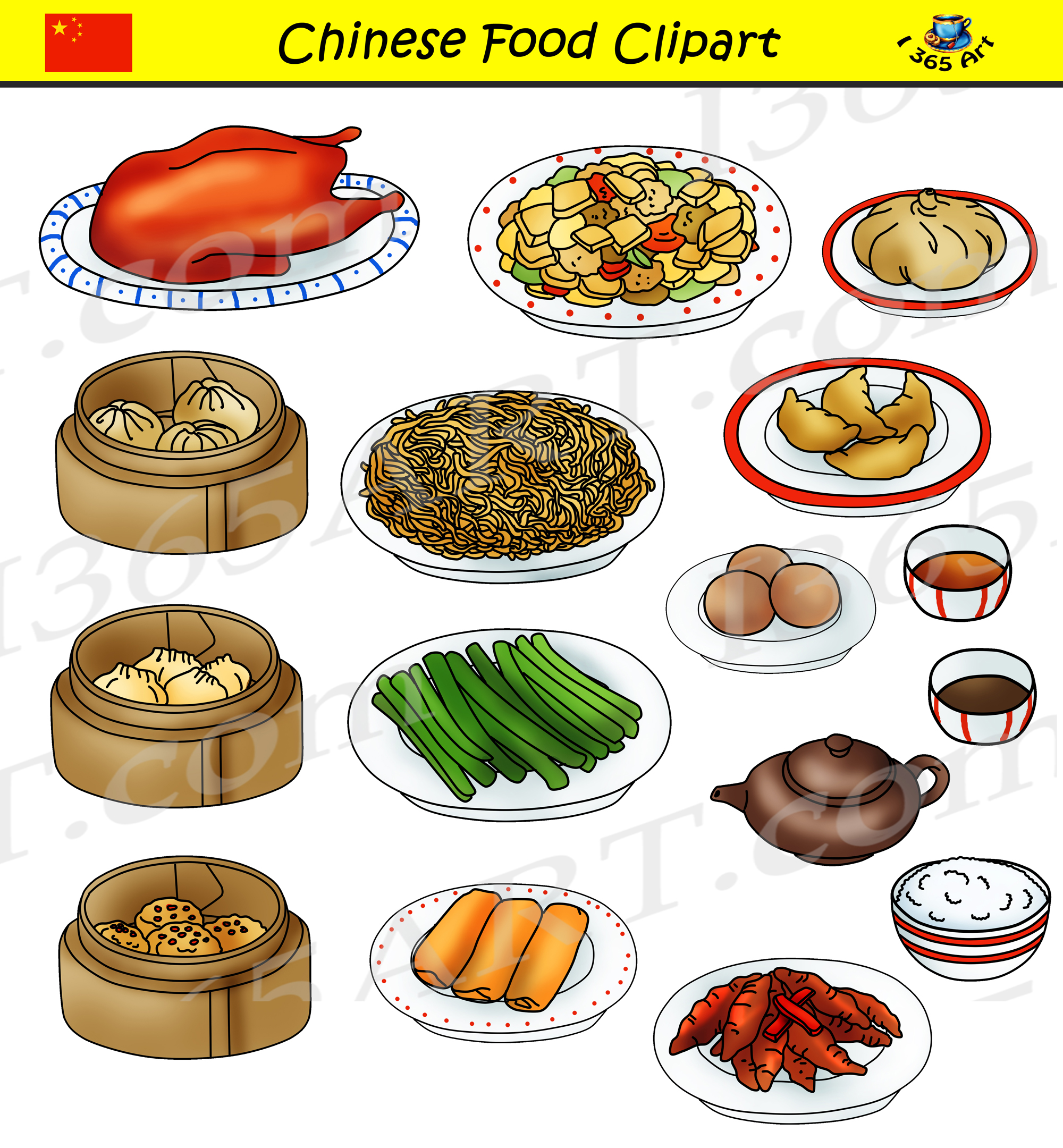Chinese Food Clipart Set