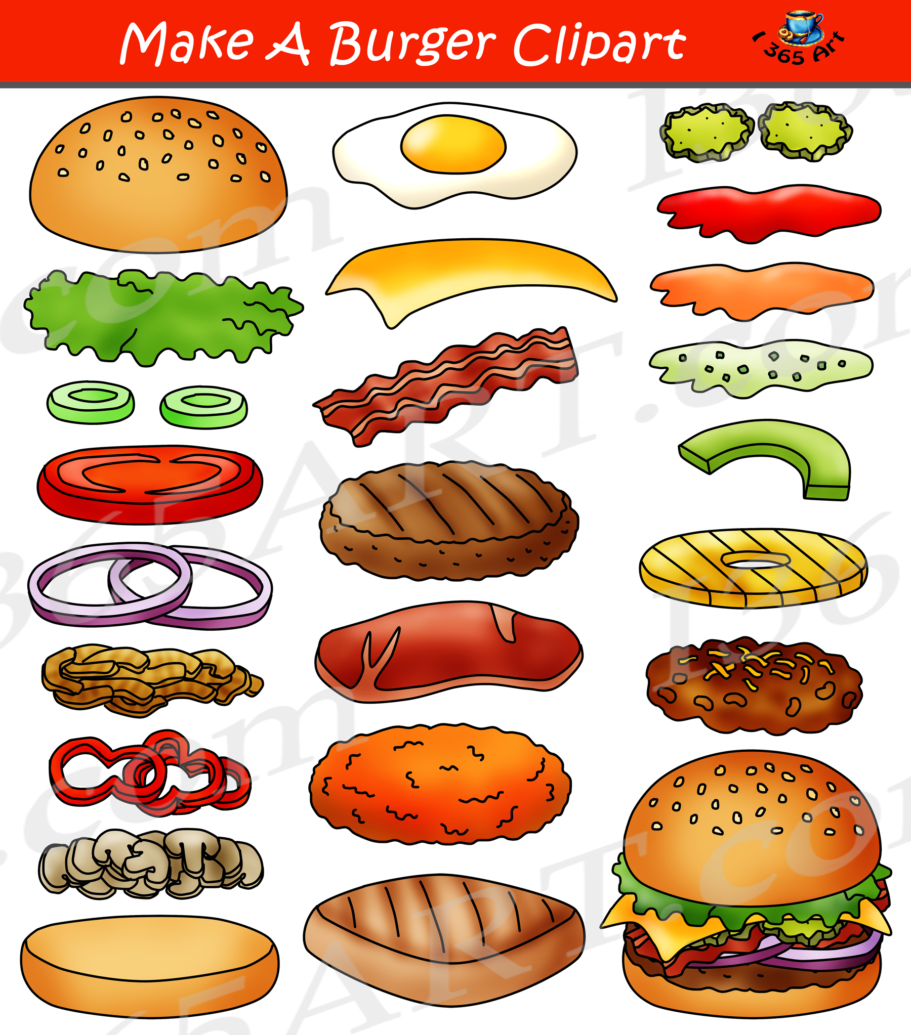 Build A Burger Clipart Hamburger Maker Bundle