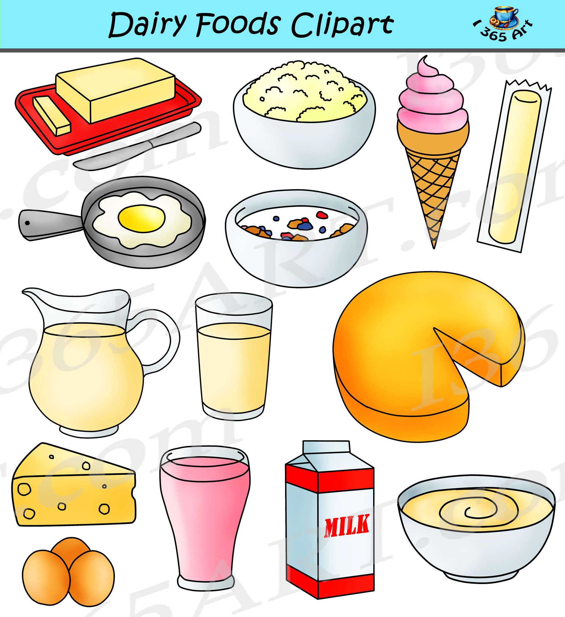 Dairy Clipart Graphics Milk Products Download