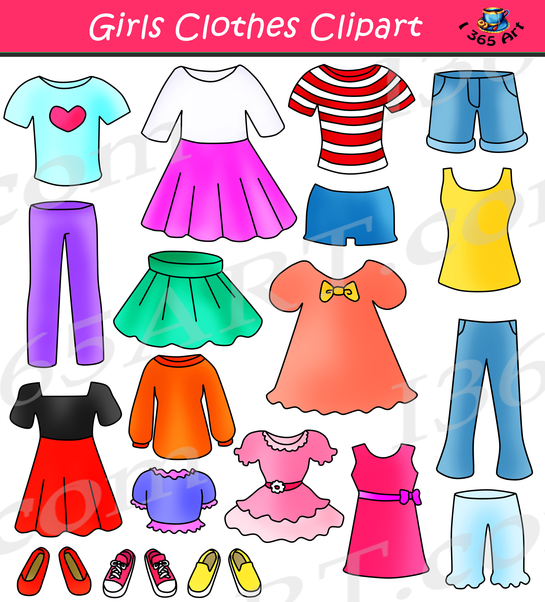 Girls Clothes Clipart Set Dress Up Clip Art