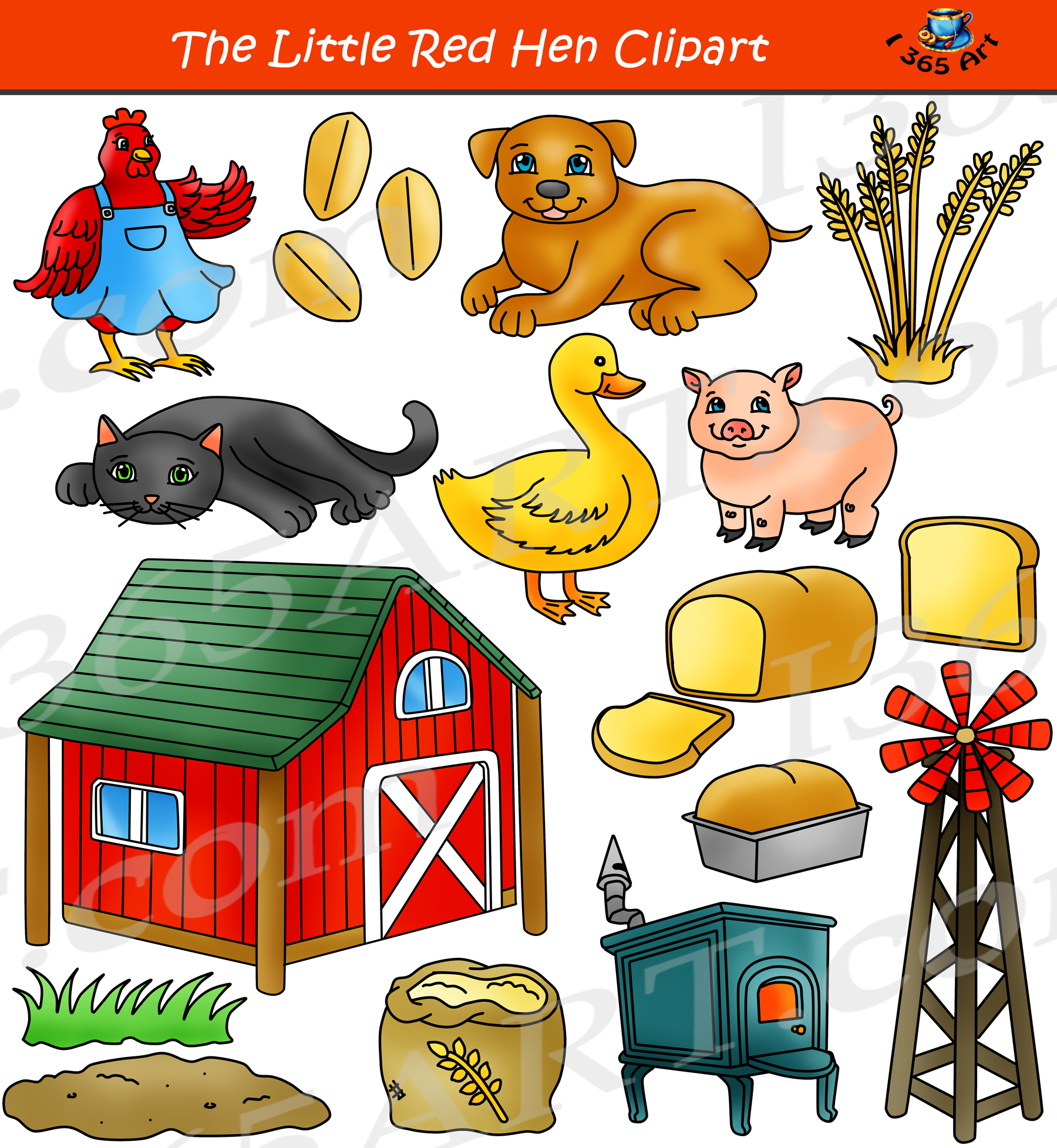 The Little Red Hen Clipart Set Children S Story Clip Art