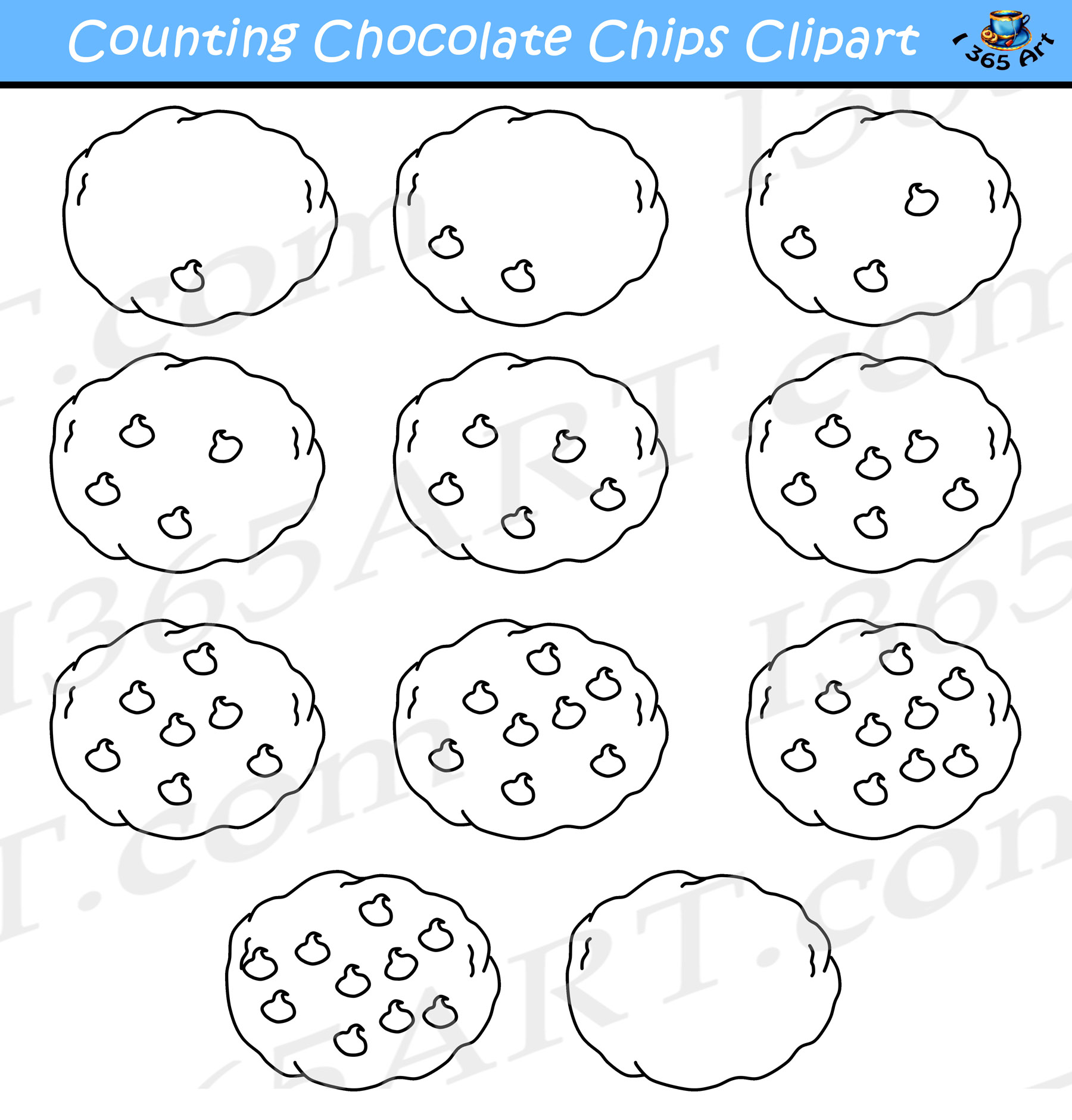 Counting Chocolate Chip Cookies Clipart Commercial Use