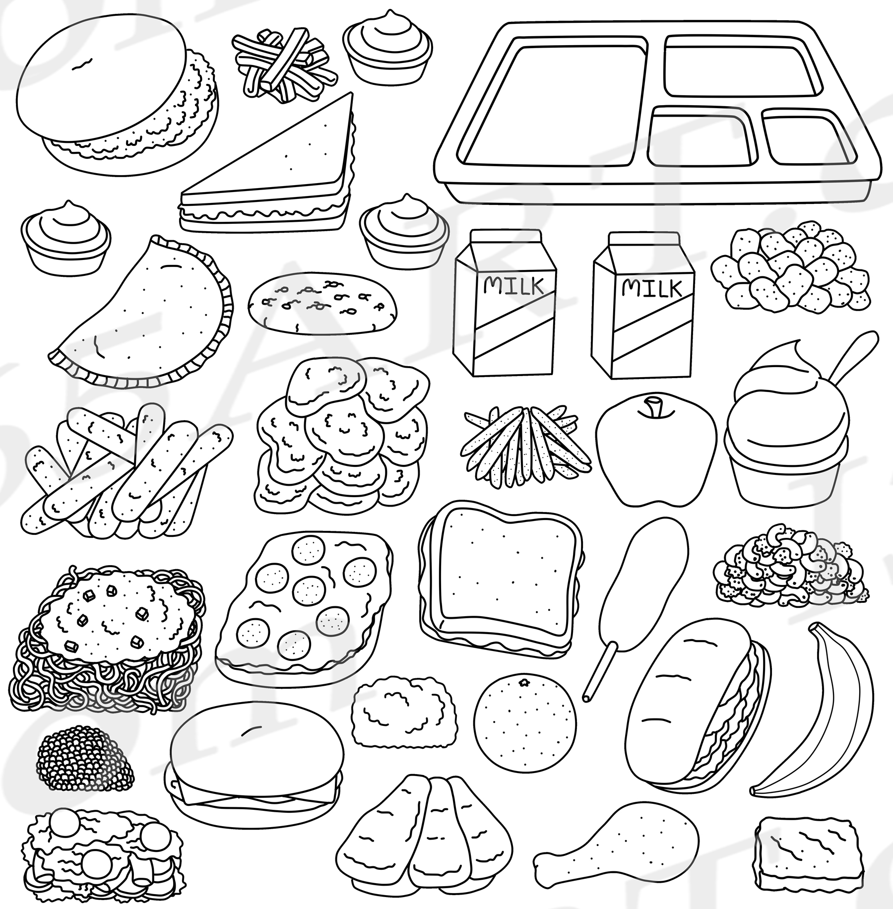 Cafeteria Food Clipart Graphics Set