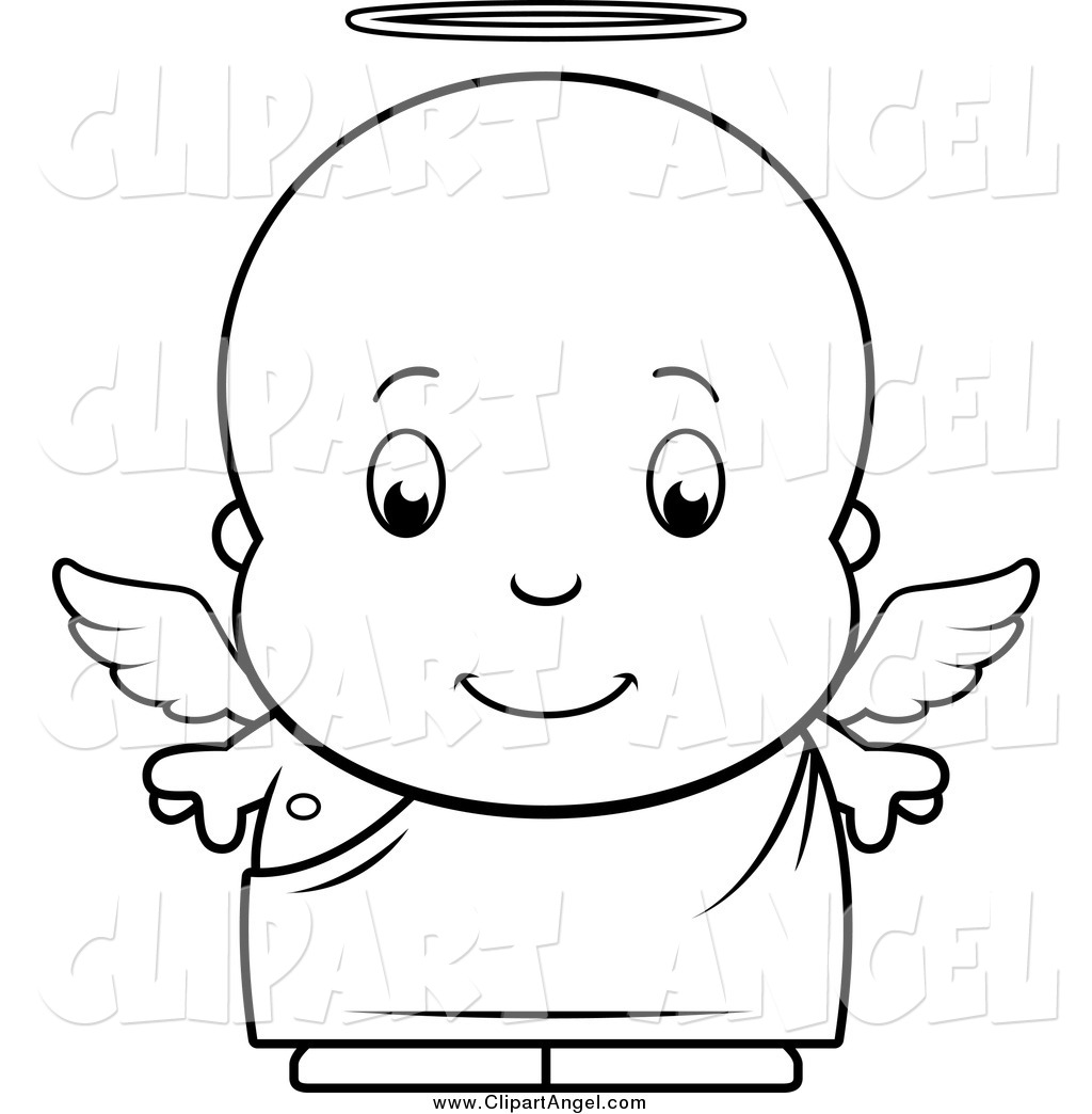 Illustration Vector Cartoon Of A Black And White Baby Boy