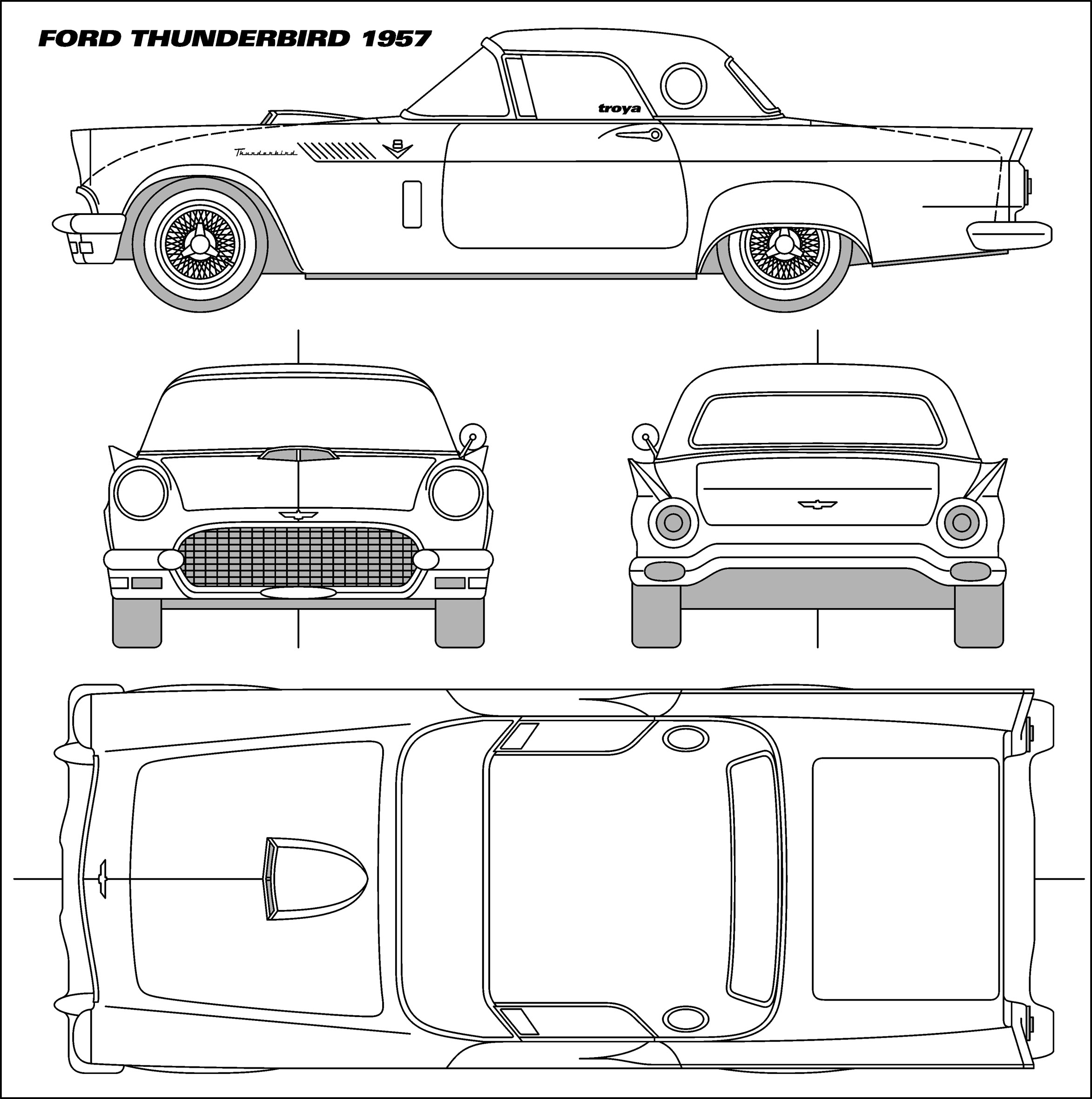 Library Of Ford Thunderbird Black And White