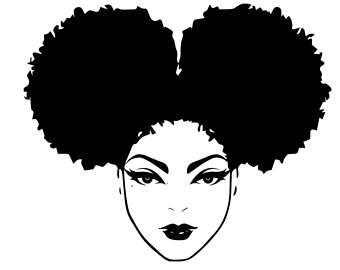 Download Library of black afro woman clipart black and white stock ...