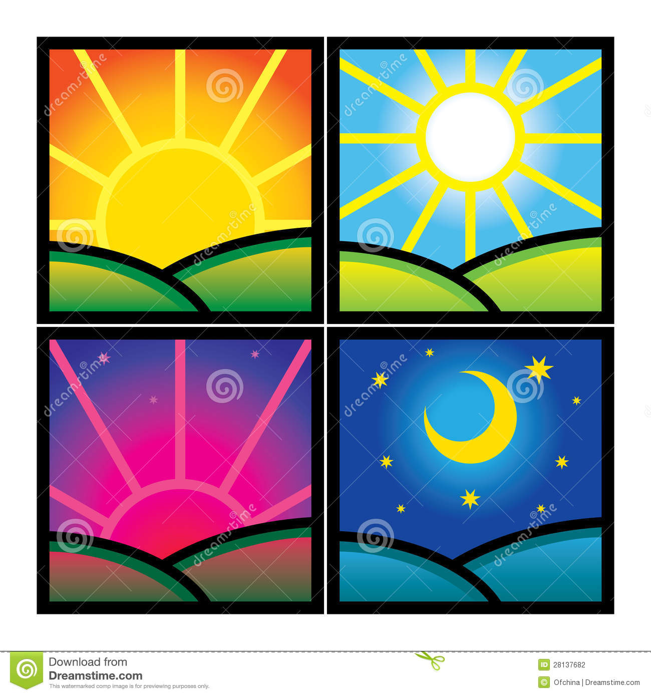 Library Of Morning Afternoon Evening Image Royalty Free