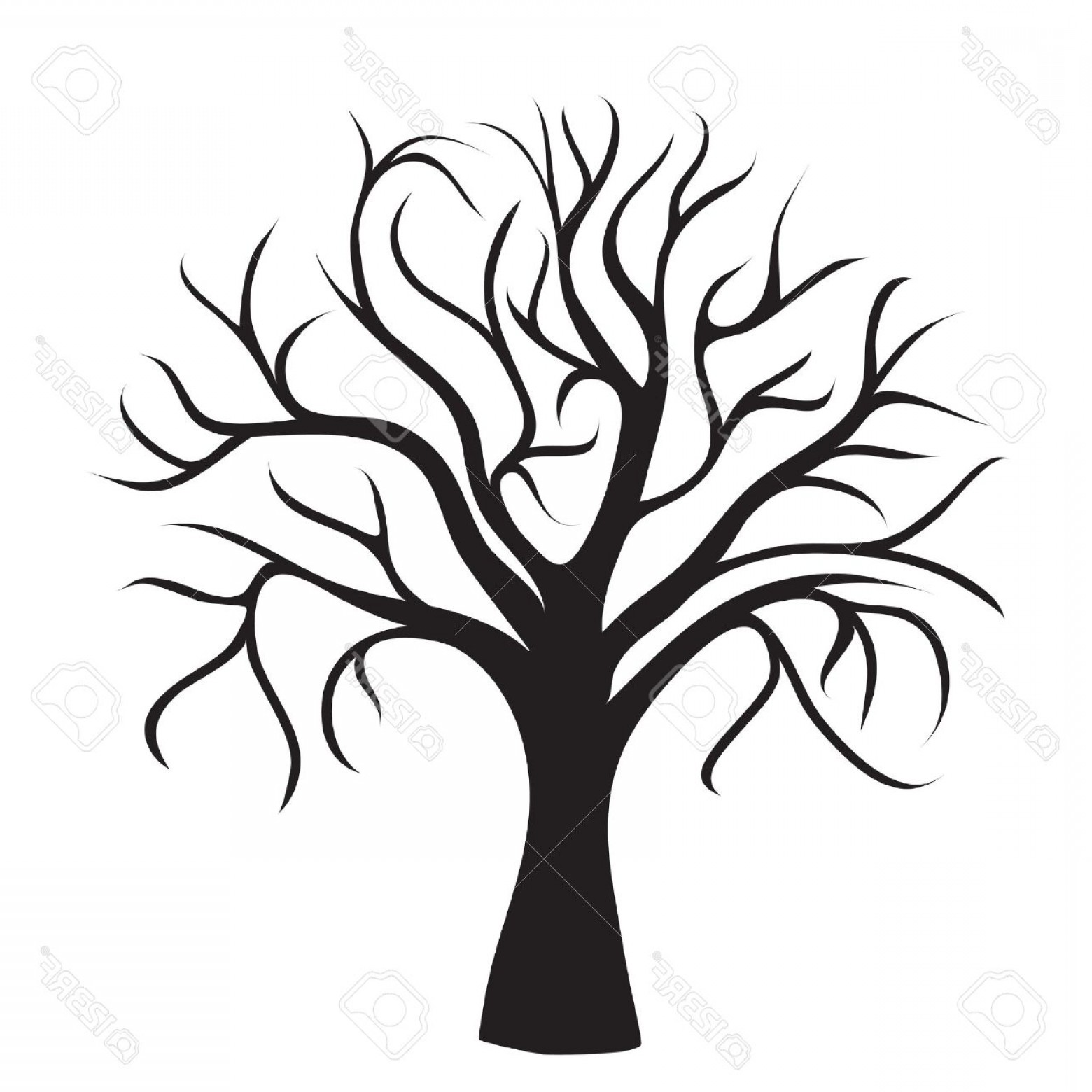 Library Of Tree Without Leaves Clipart Stock Black And