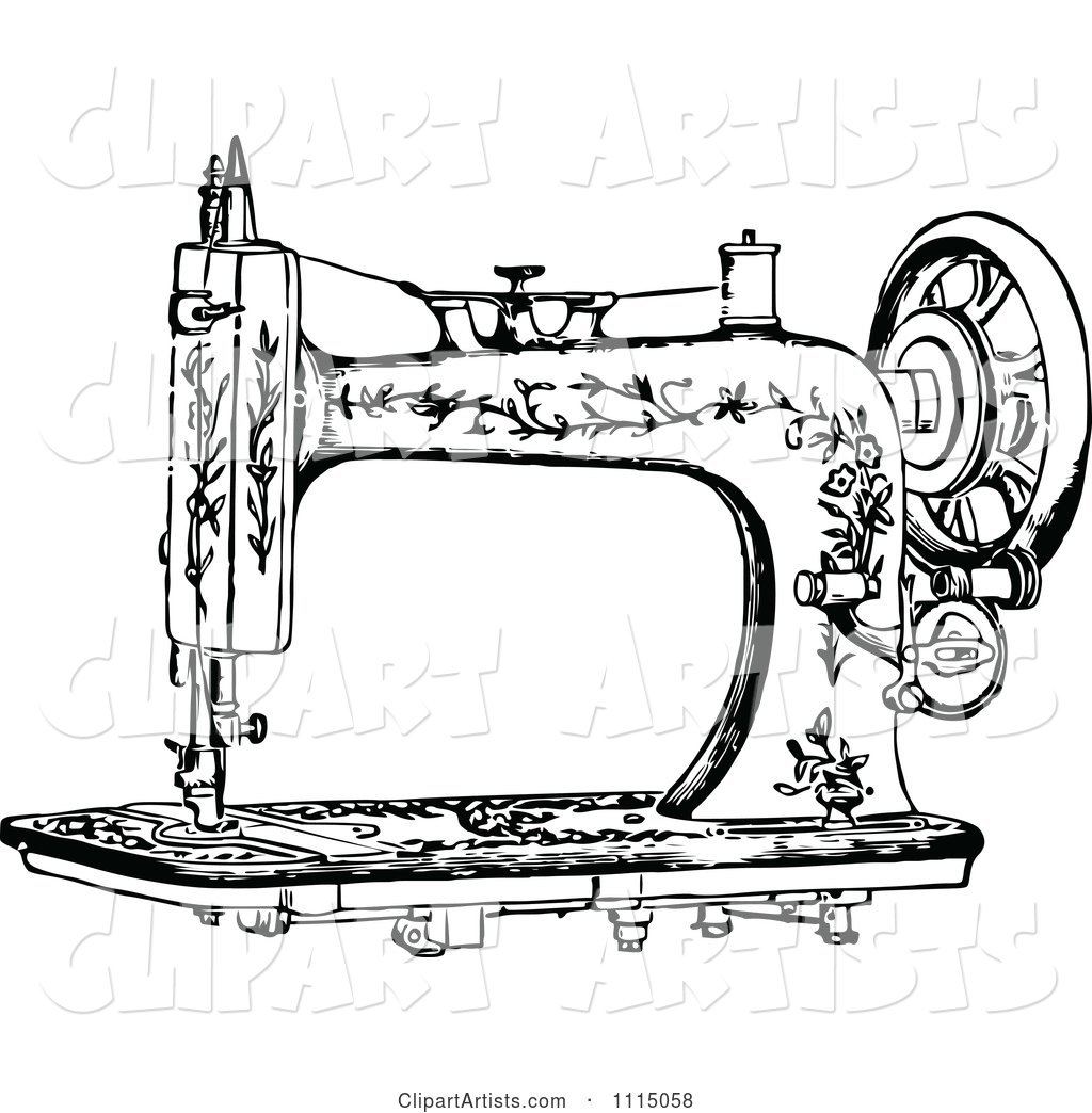 Vintage Black And White Antique Sewing Machine 1 Clipart