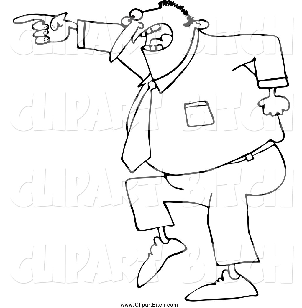 Clip Vector Cartoon Art Of A Black And White Mad