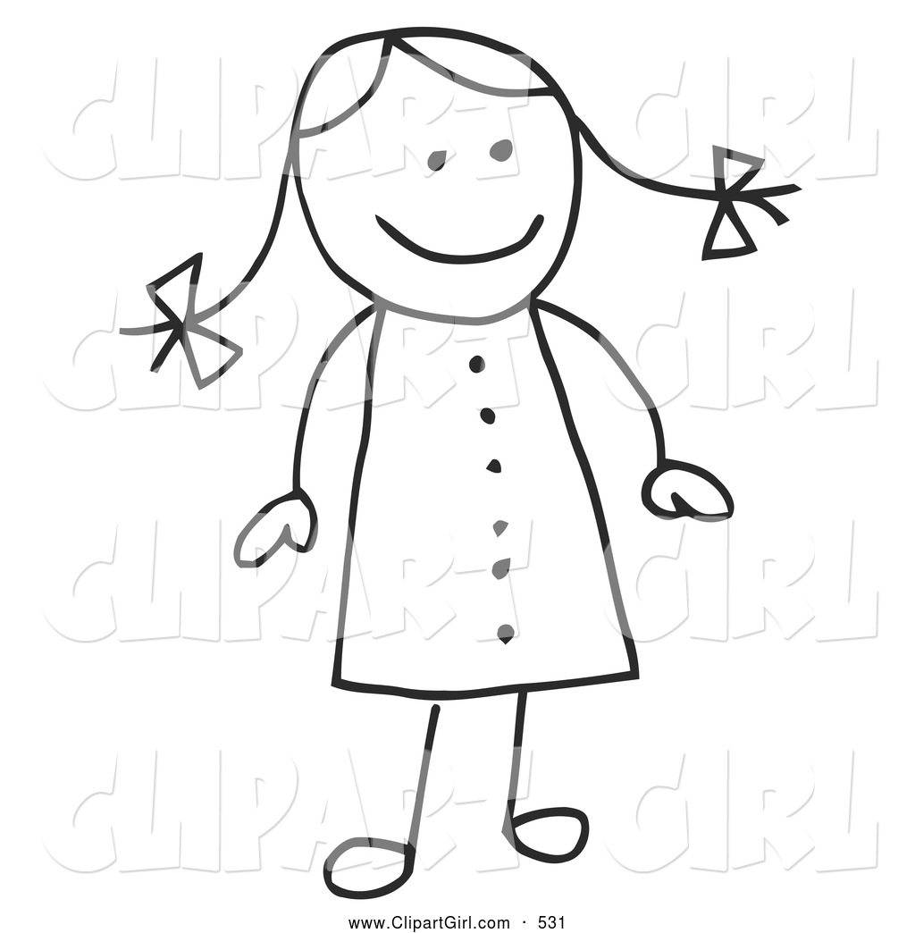 Royalty Free Black And White Stock Girl Designs