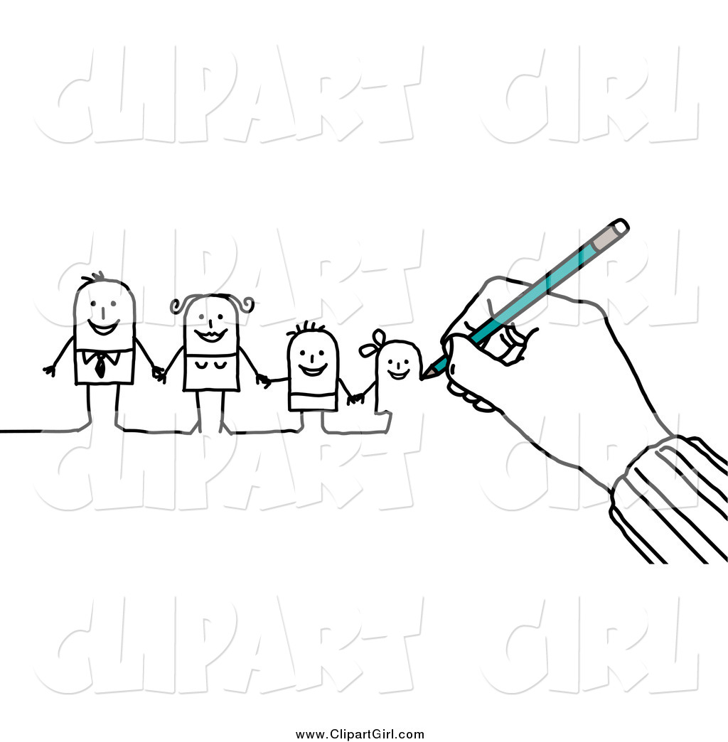 Clip Art Of A Hand Drawing A Family Of Stick People By Nl