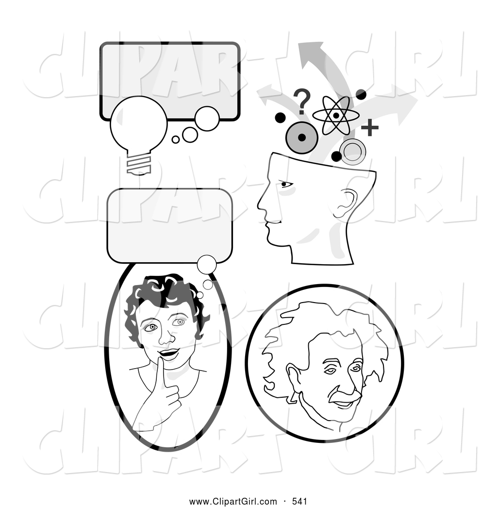 Clip Art Of A Set Of Educational Icons With Thought
